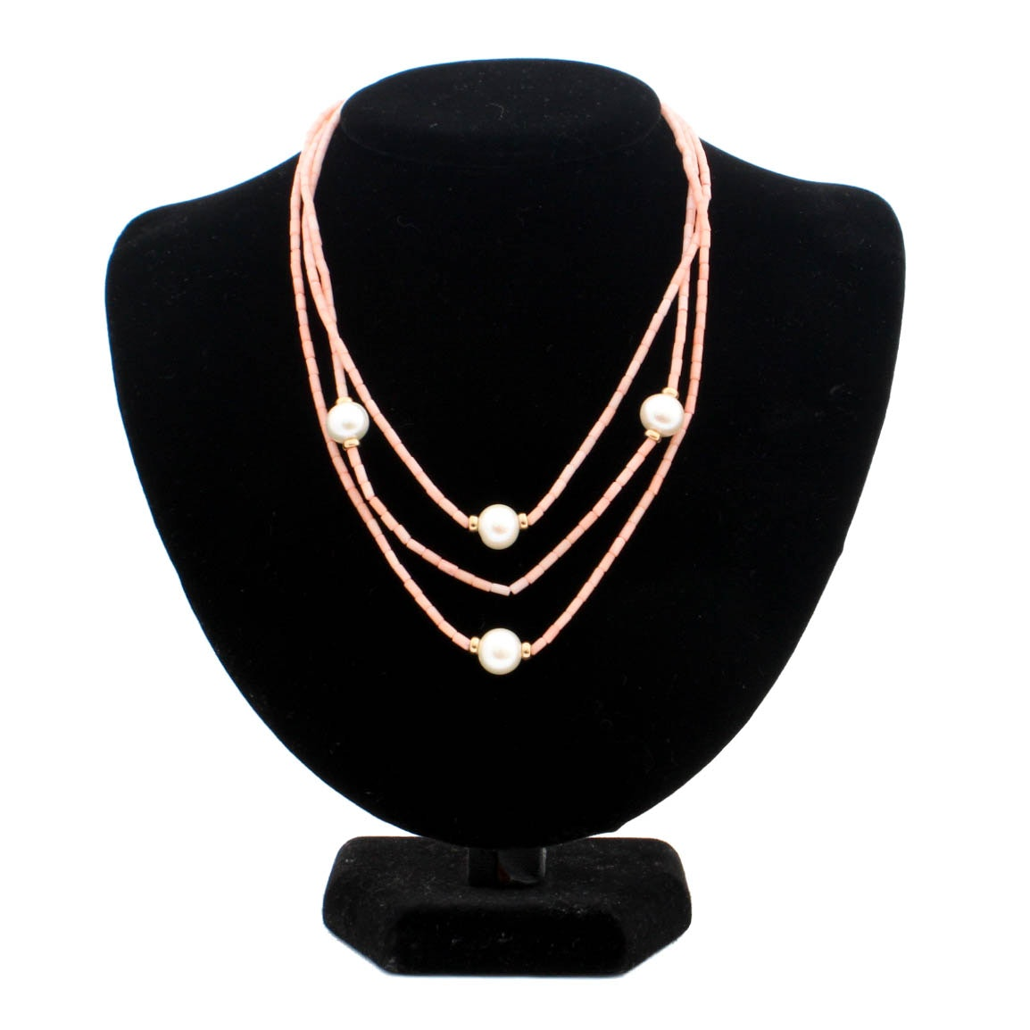 14K Yellow Gold Pearl and Coral Multi-Strand Necklace
