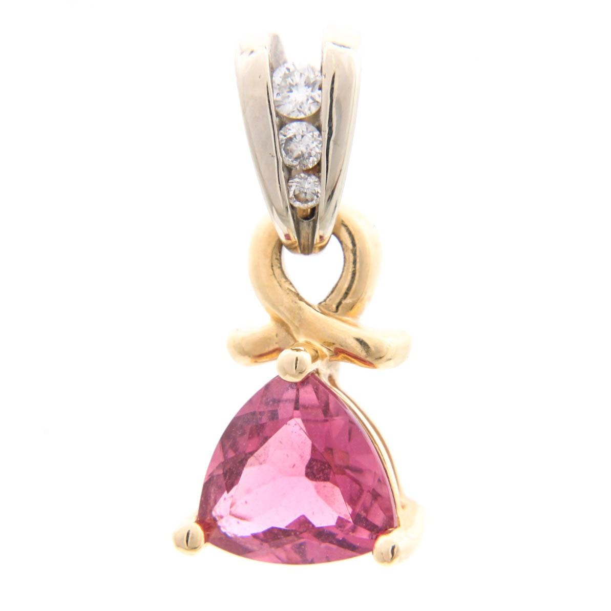 14K Gold Pink Tourmaline and Diamond Pendant