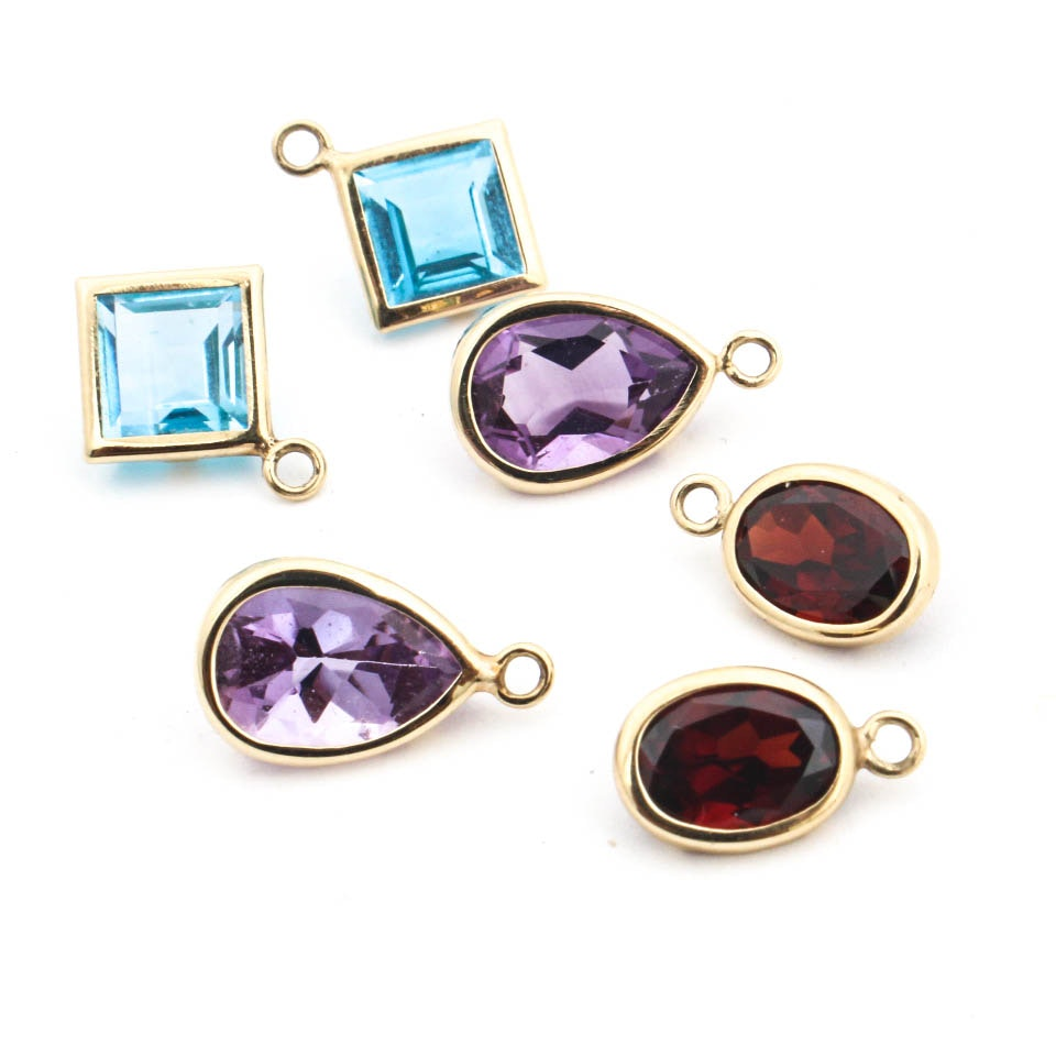 14K Yellow Gold Charms with Amethyst Garnet and Blue Topaz
