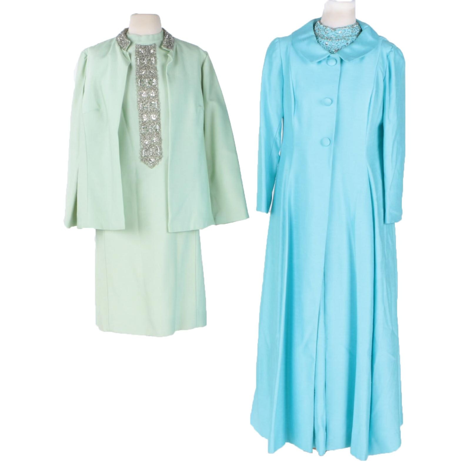 Vintage Formal Dress and Overcoat Sets