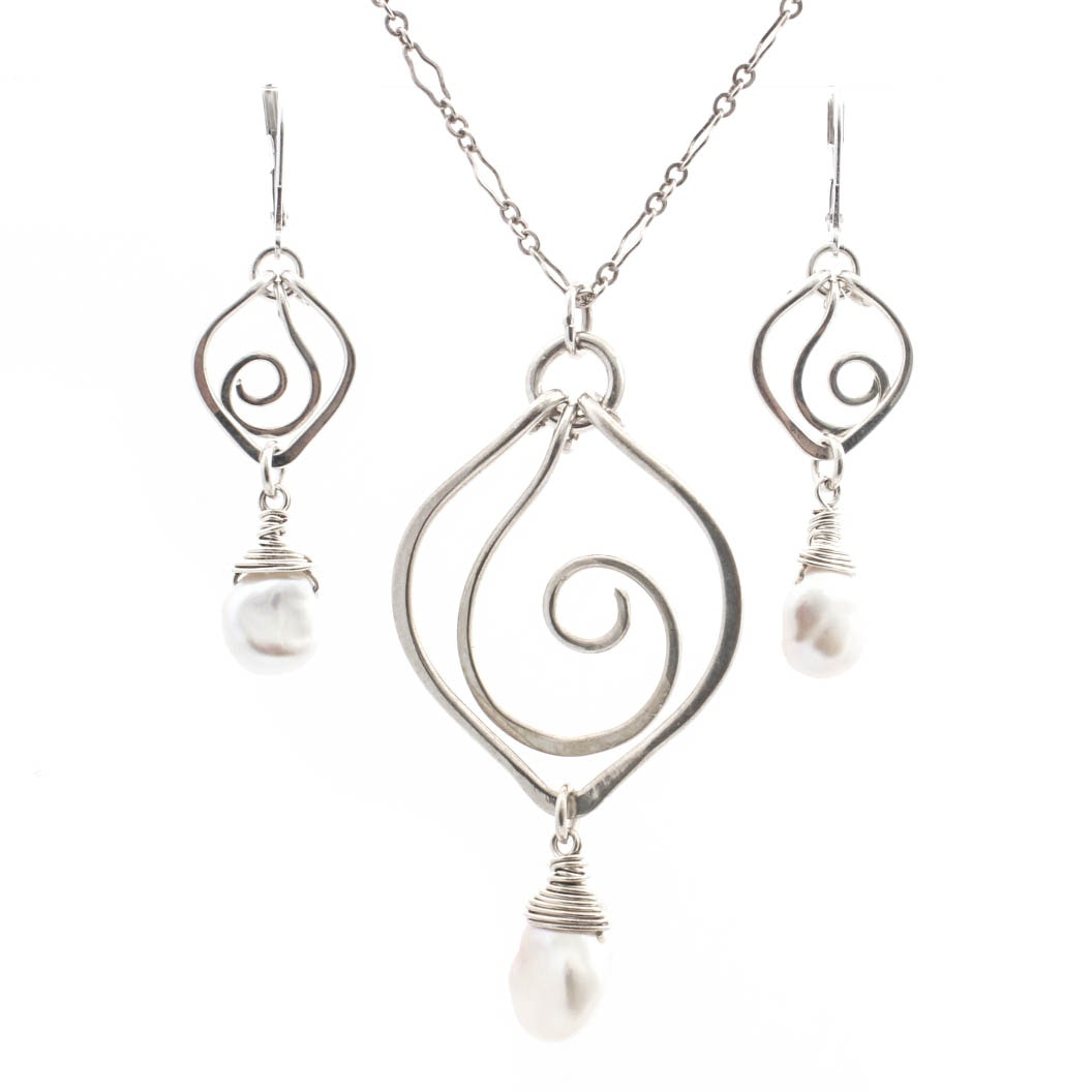 Sterling Silver Cultured Pearl Necklace and Earrings Set by Bonnie Hedden
