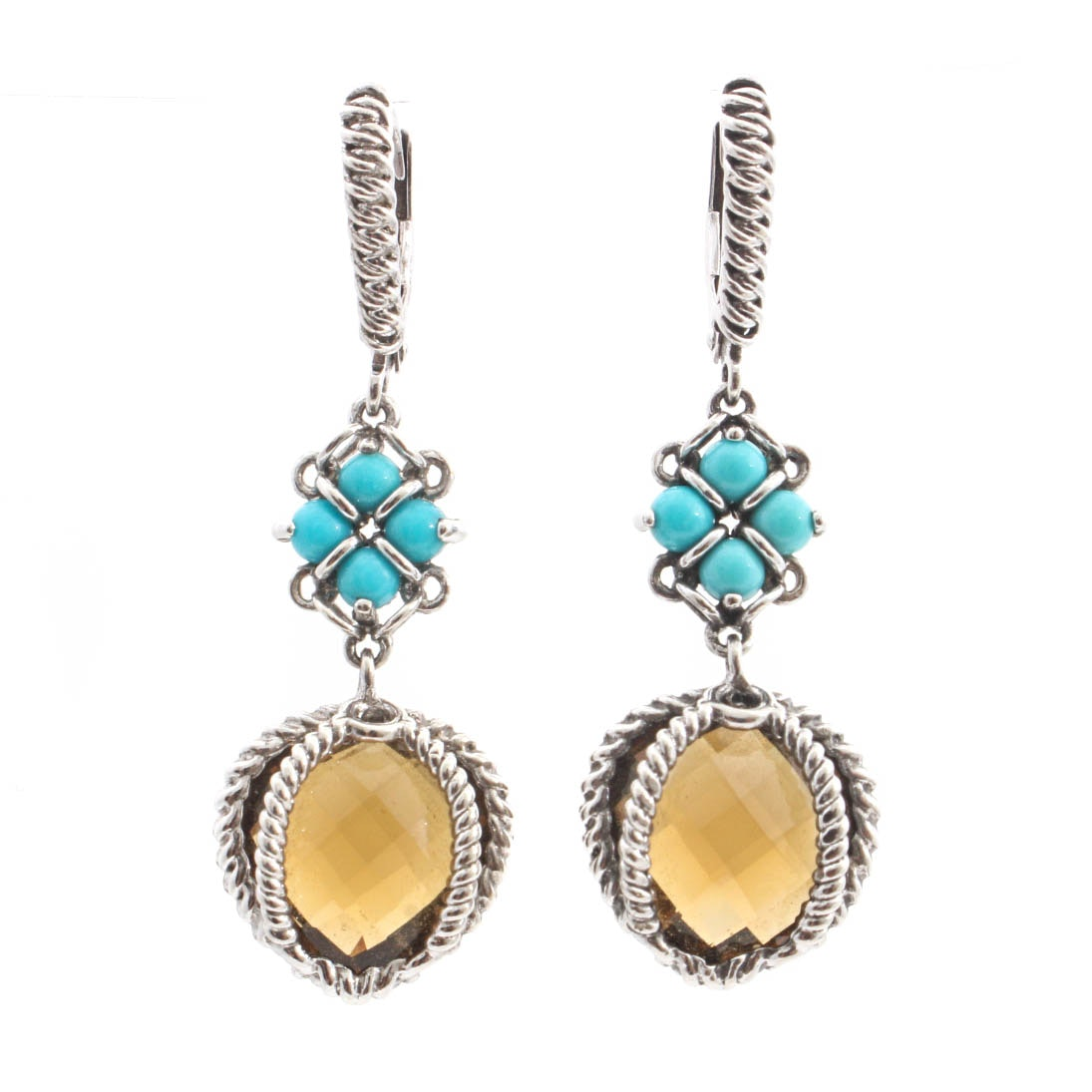 Anthony Nak Sterling Silver Smoky Quartz and Turquoise Earrings