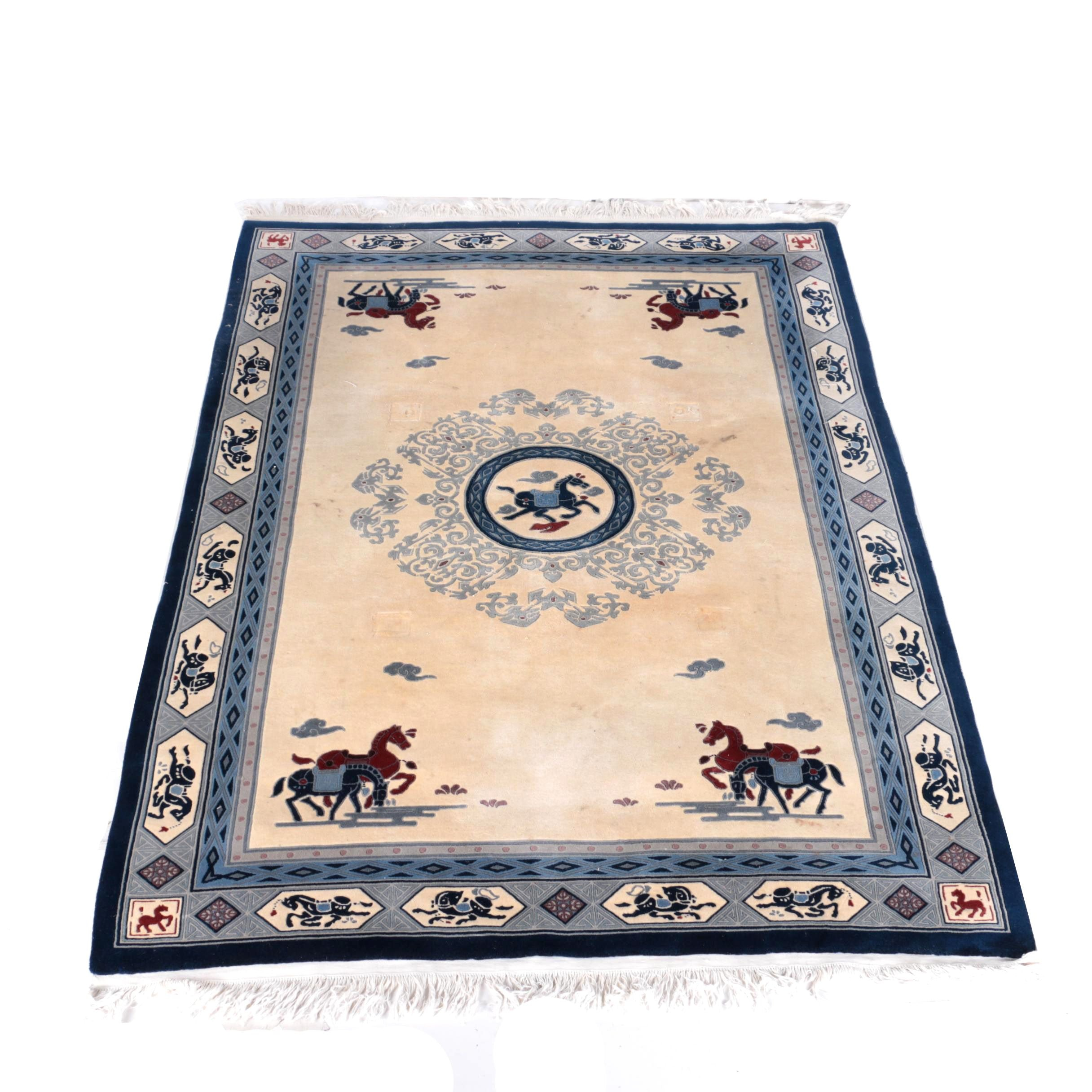"""Hand-Knotted Chinese """"War Horse"""" Area Rug"""