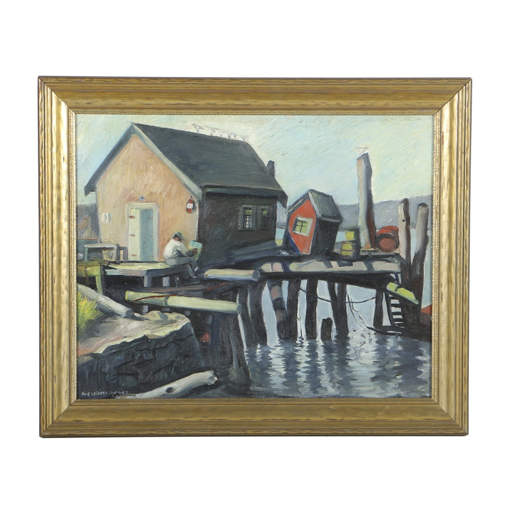"Alice Lauffer Lawrence Oil Painting on Board ""Favorite Spot on Earth, Gloucester, Mass."""