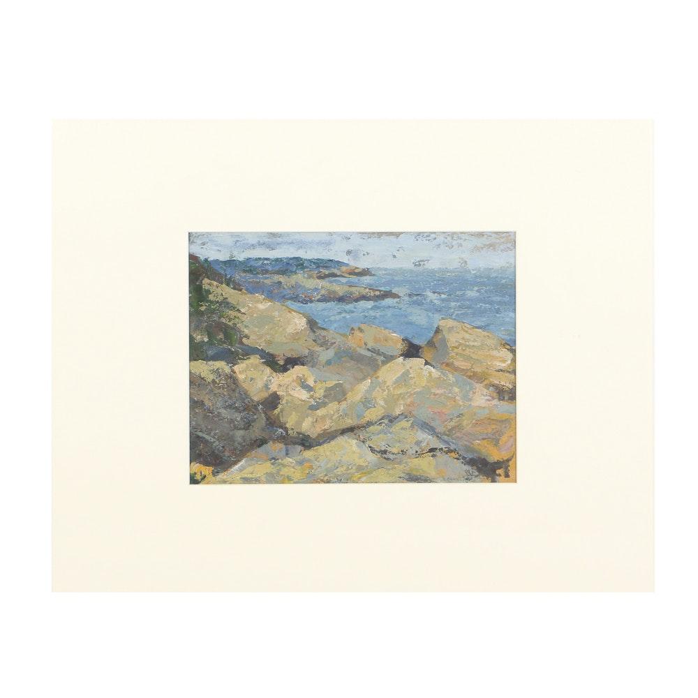 Carolyn Zimmerman Oil Painting on Paper Coastal Landscape