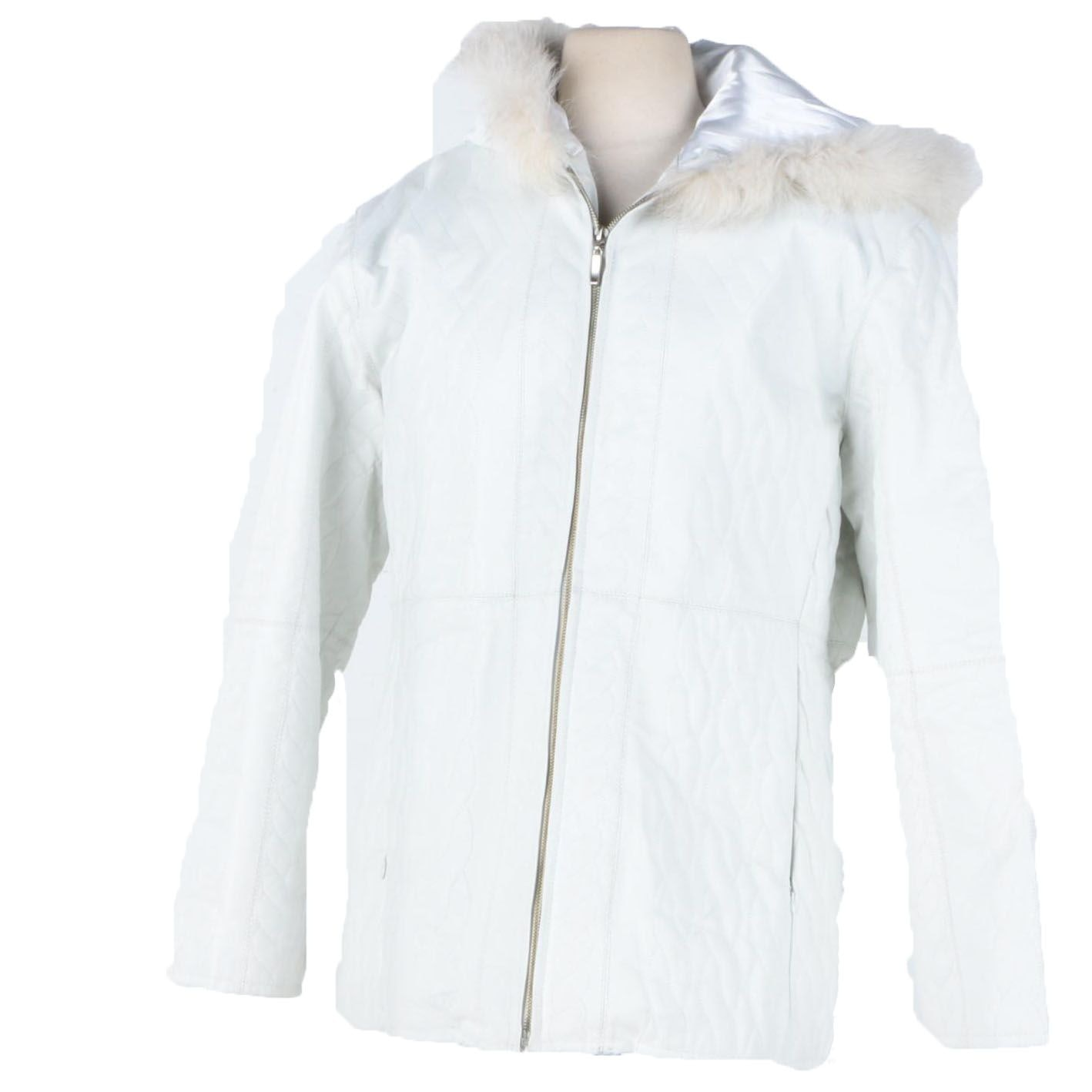 Women's White Leather Winter Coat