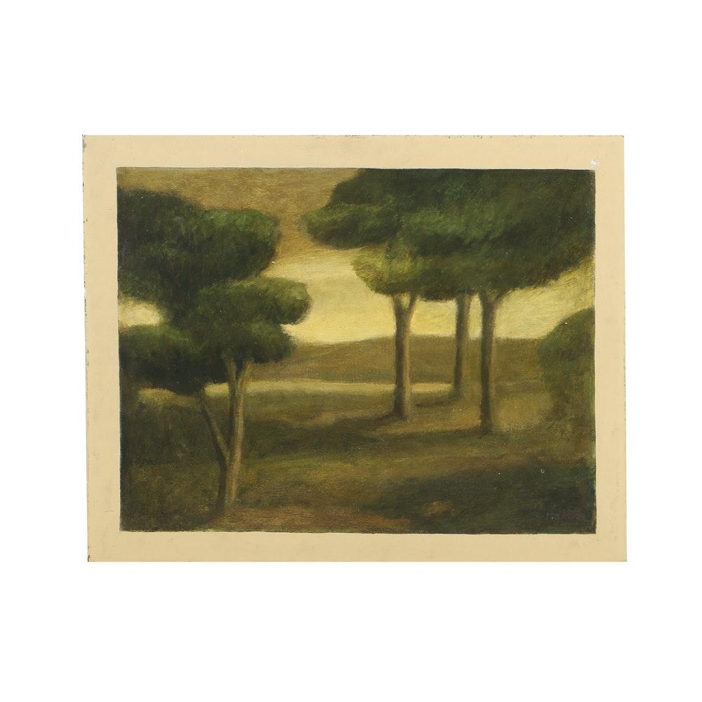 "Edgar Hatten Oil Painting on Board ""Australian Trees"""