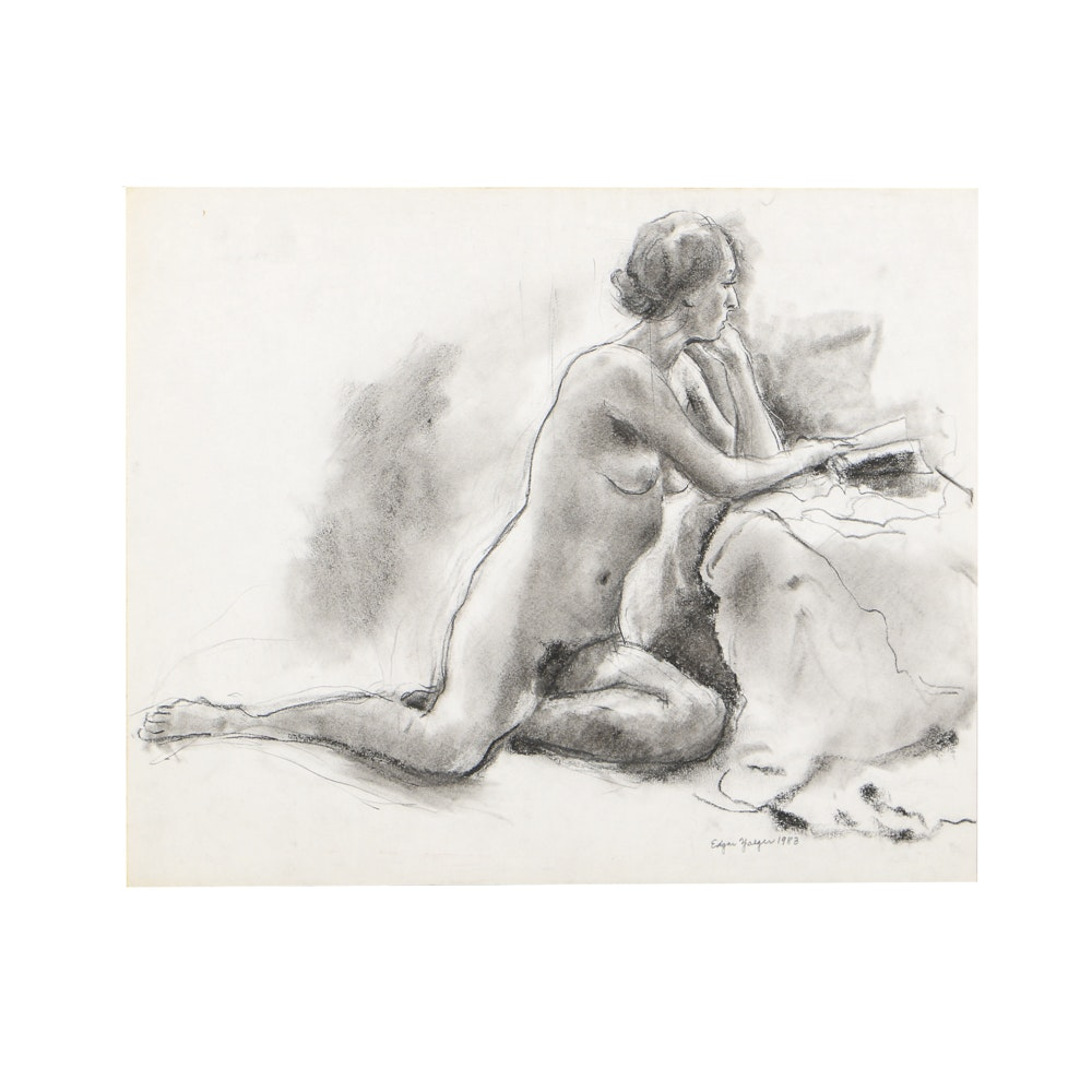 Edgar Yaeger Charcoal Drawing on Paper of a Female Nude