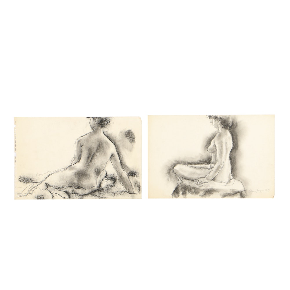 Edgar Yaeger Charcoal Drawings on Paper of Female Nudes