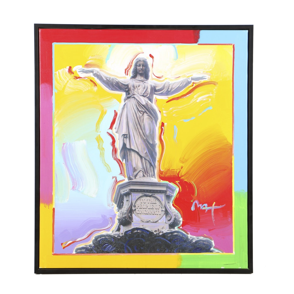 "Peter Max Mixed Media on Canvas ""The Tyler Davidson Fountain"""