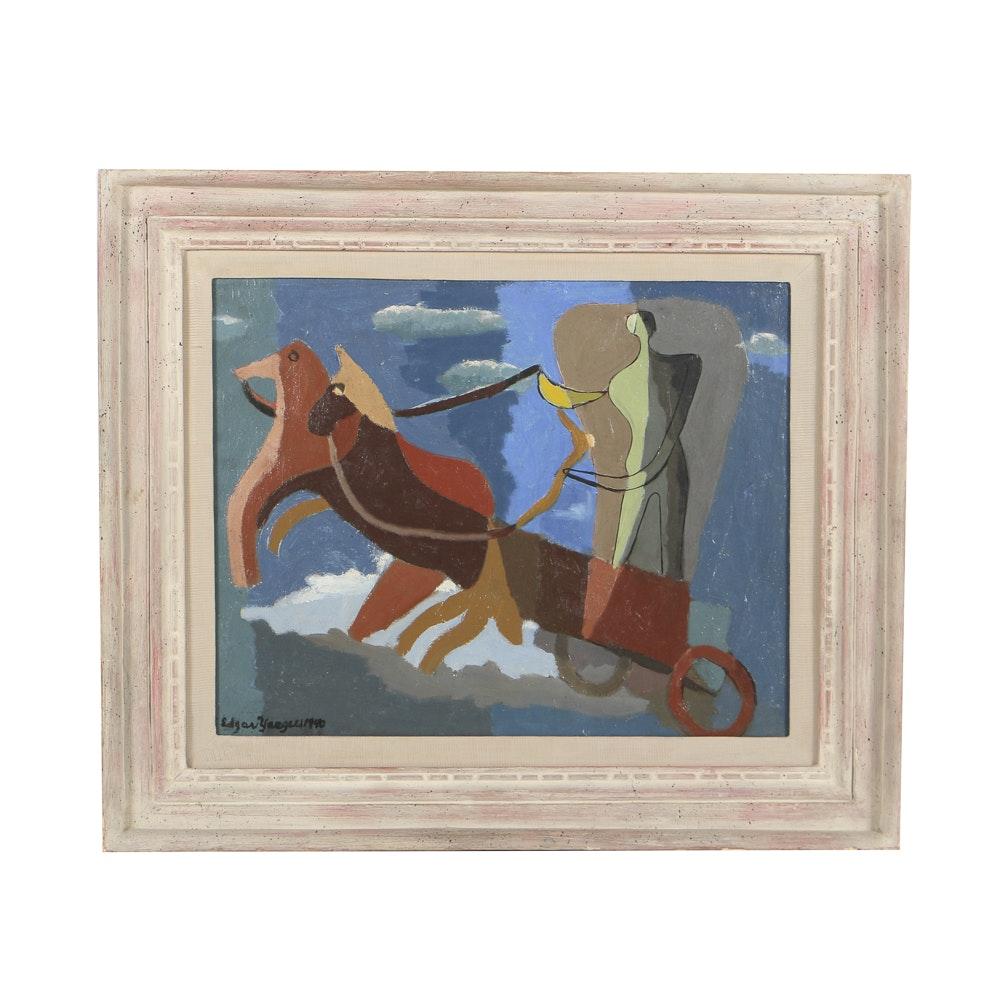 "Edgar Yaeger Oil Painting on Canvas ""Charioteer"""