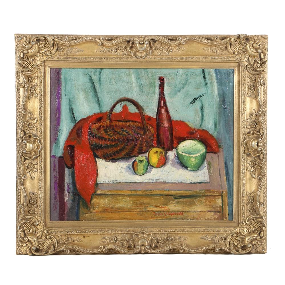 "Edgar Yaeger Oil Painting on Canvas ""Woven Basket Still Life"""