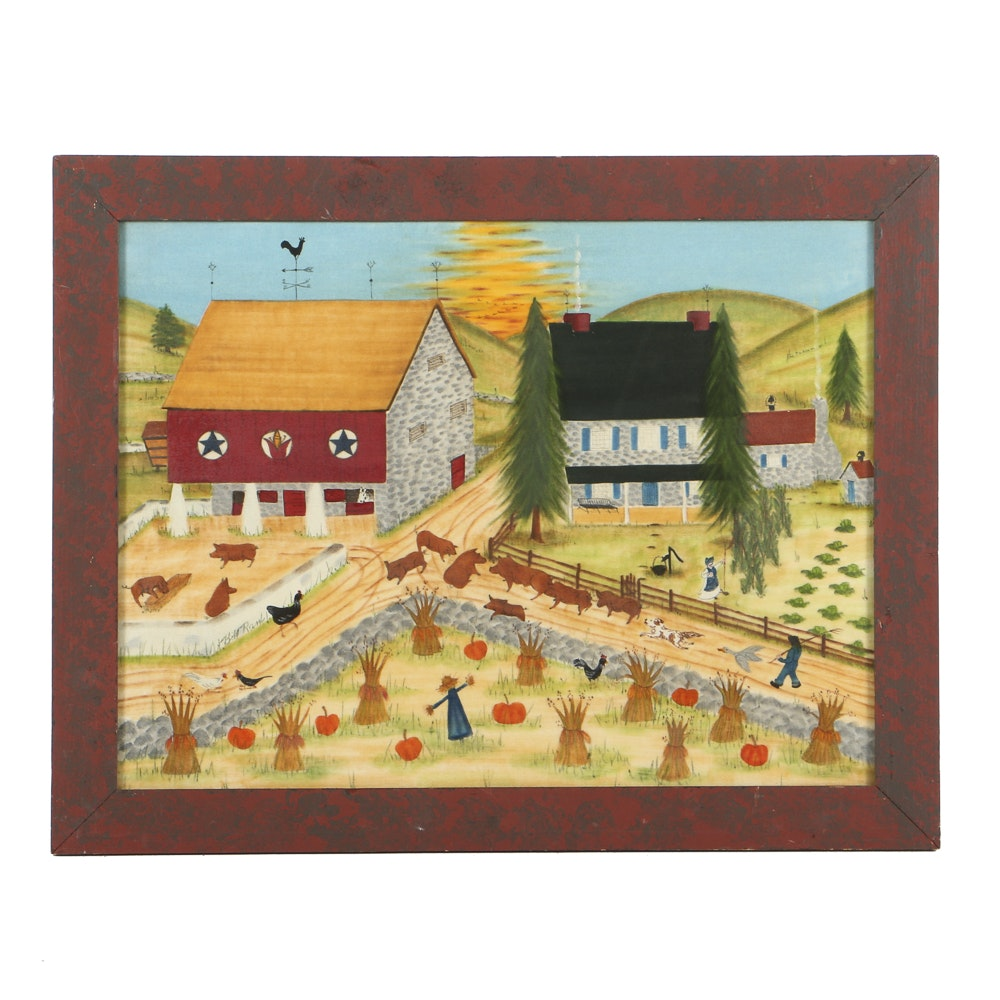 Bill Rank Theorem Style Oil Painting on Velvet Folk Art Farm View