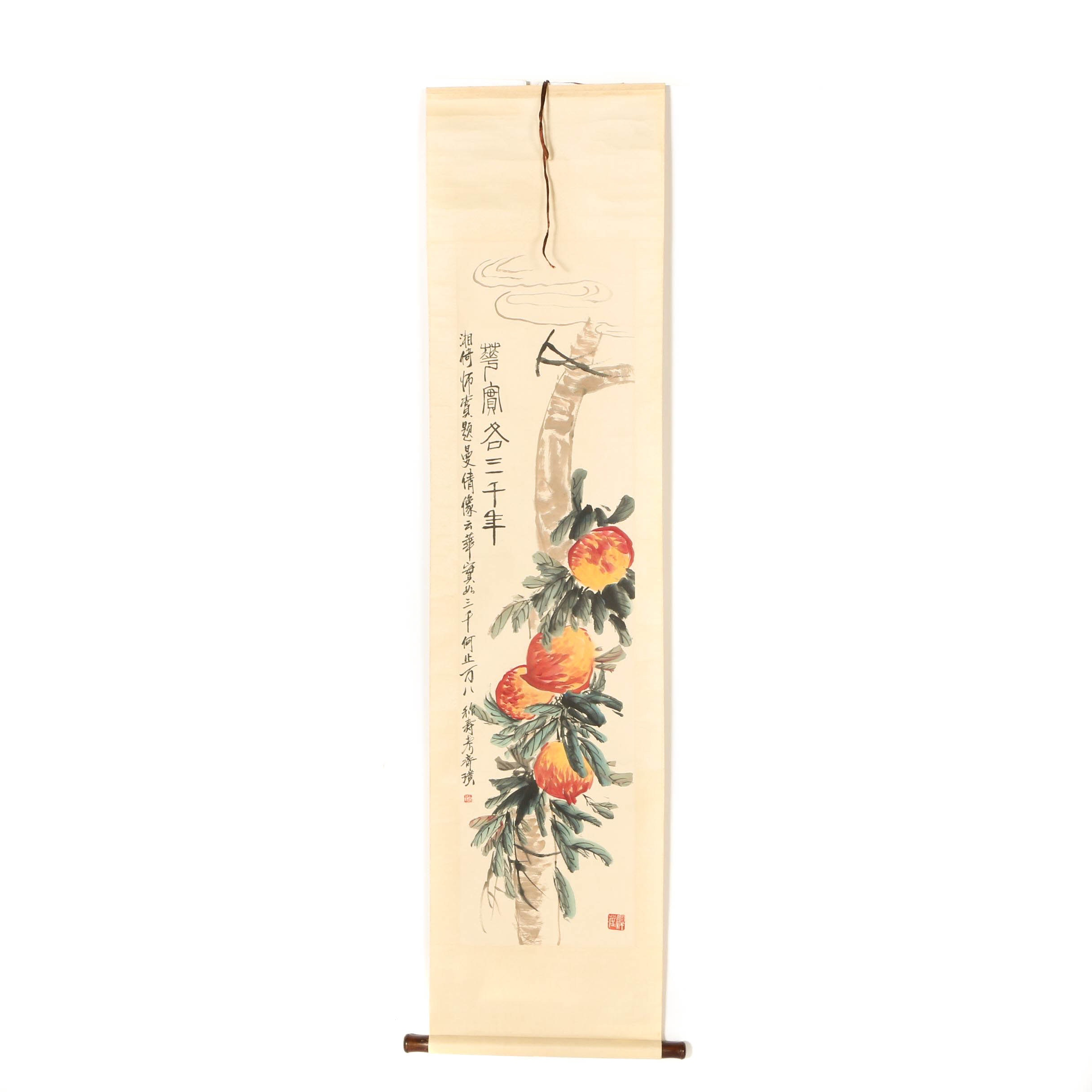 "After Qi Baishi Hand Painted Chinese Hanging Scroll on Paper ""Massive Peaches"""