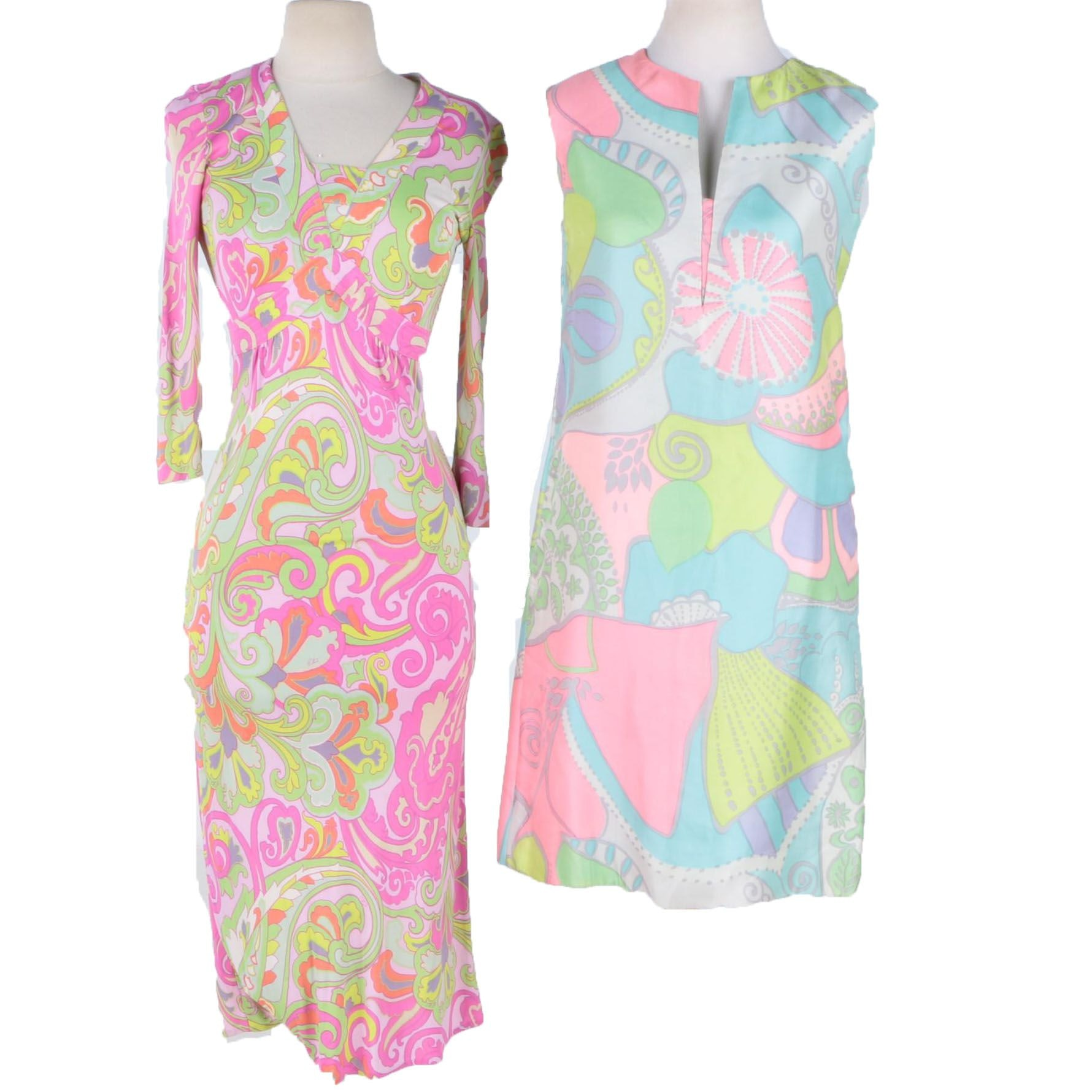 Vintage Multicolored Print Dresses Including Etro Milano