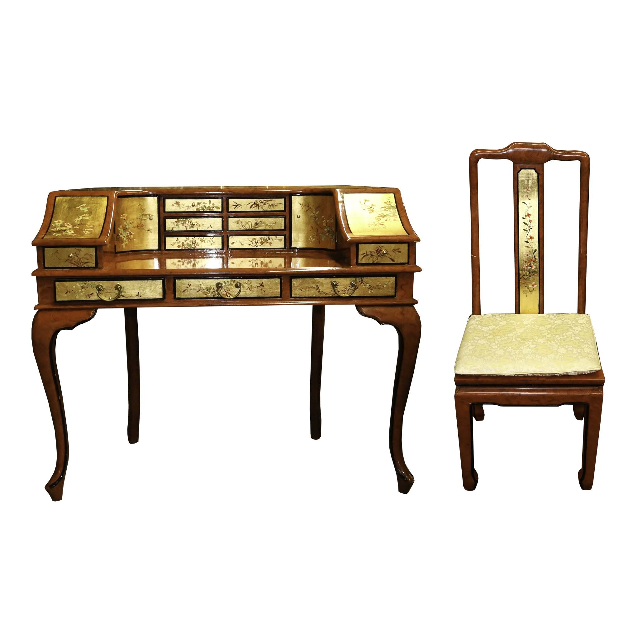 Queen Anne Style Chinoiserie Desk with Chair