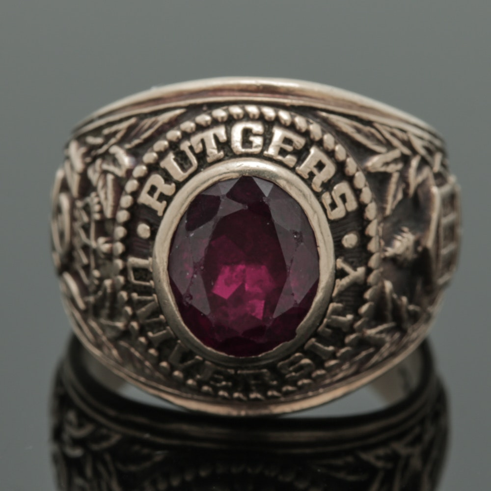 Vintage Rutgers University 10K Yellow Gold Class Ring Featuring Synthetic Ruby