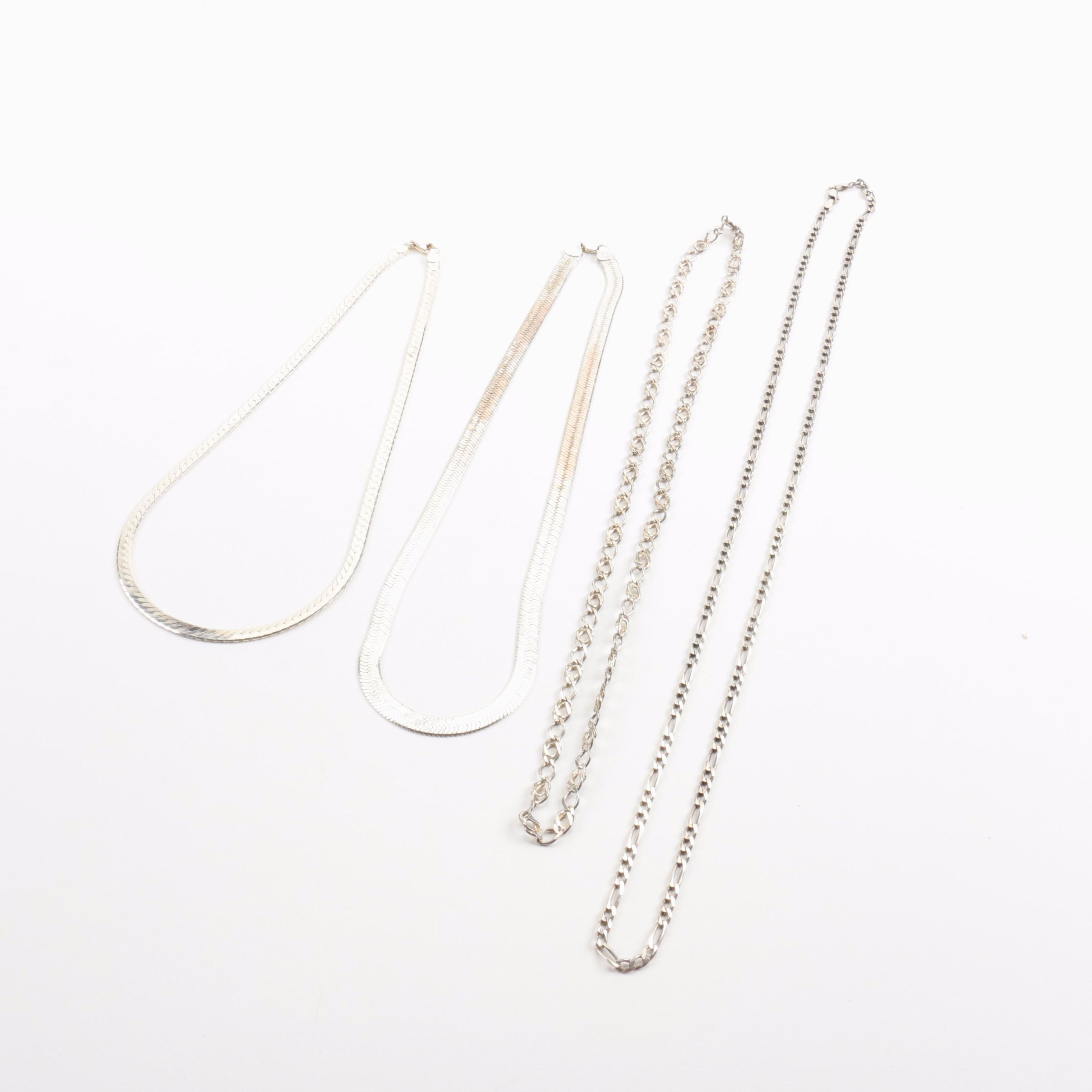 Four Sterling Silver Chain Necklaces
