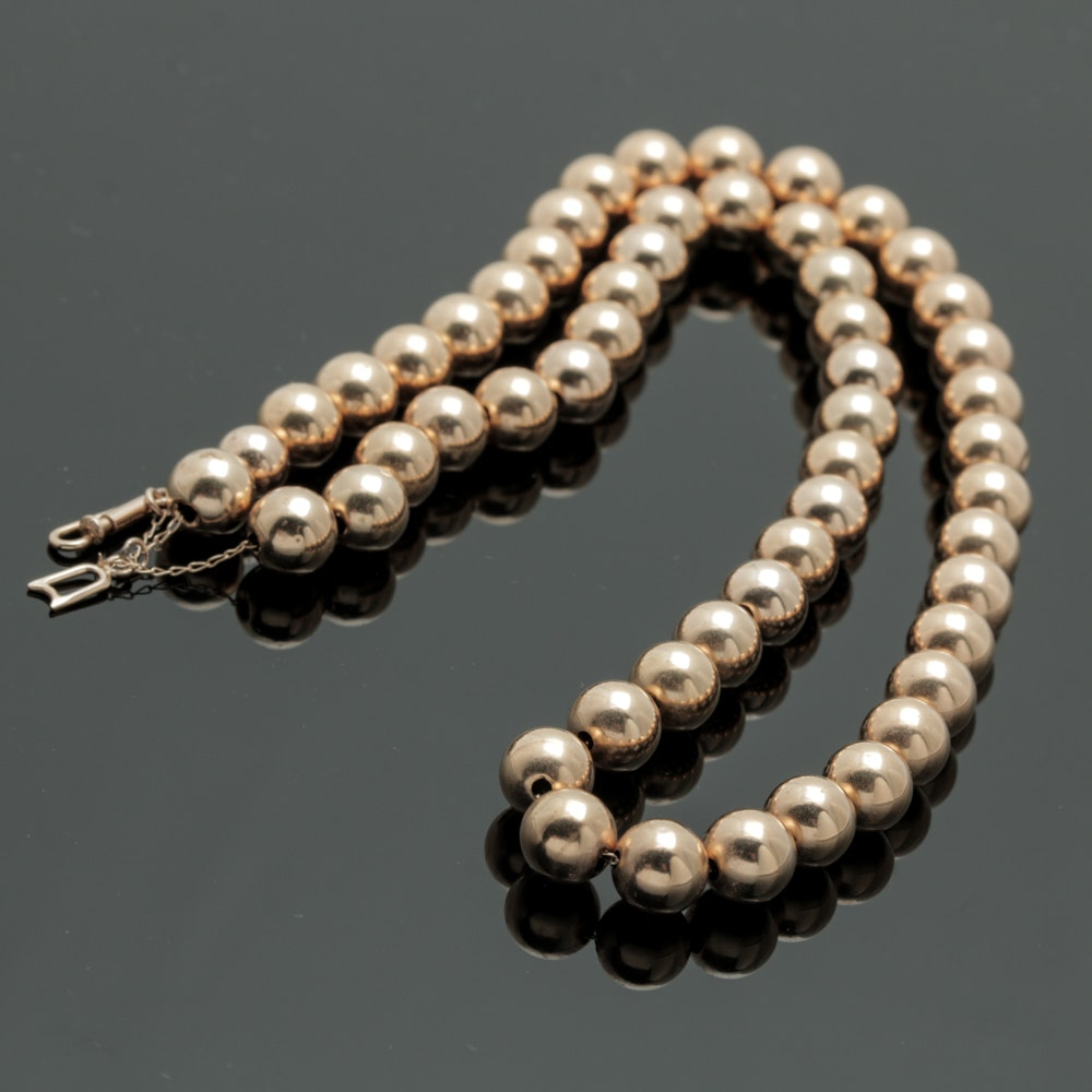 14K Yellow Gold Sphere Beaded Necklace