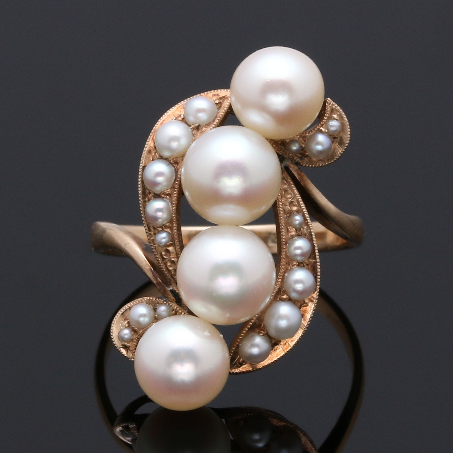 14K Yellow Gold and Cultured Pearl Ring