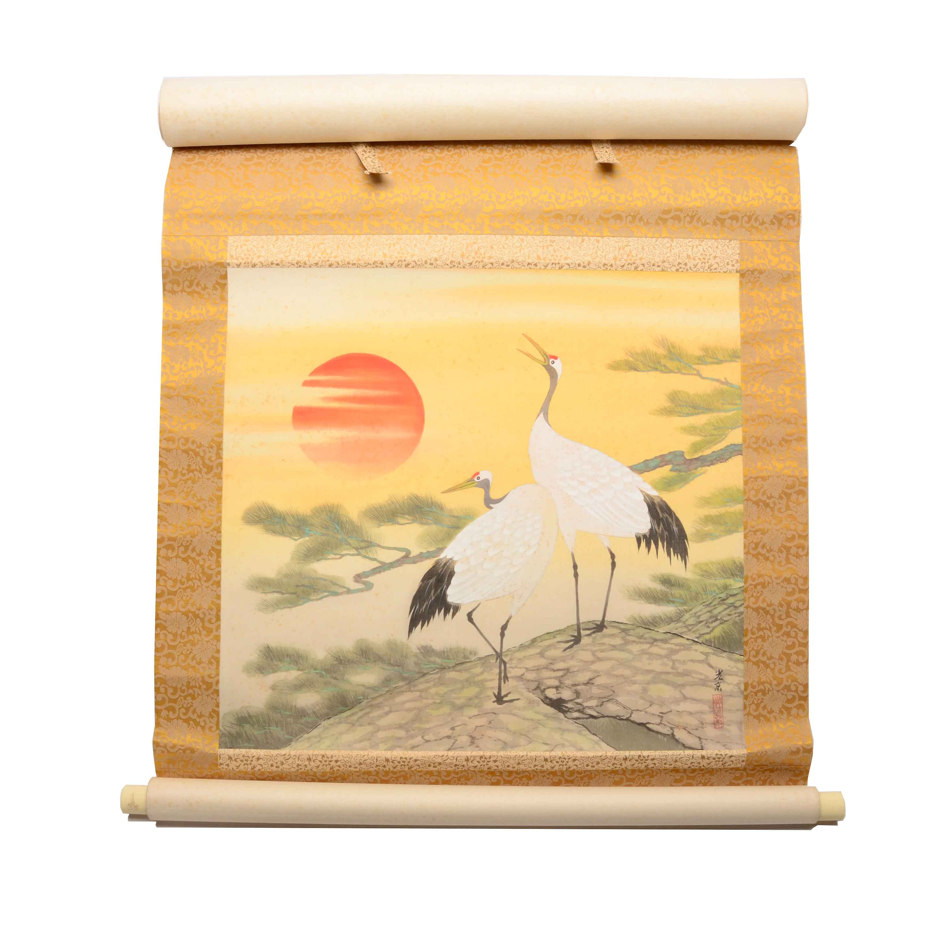 Chinese Original Gouache Scroll Painting of Cranes on Silk