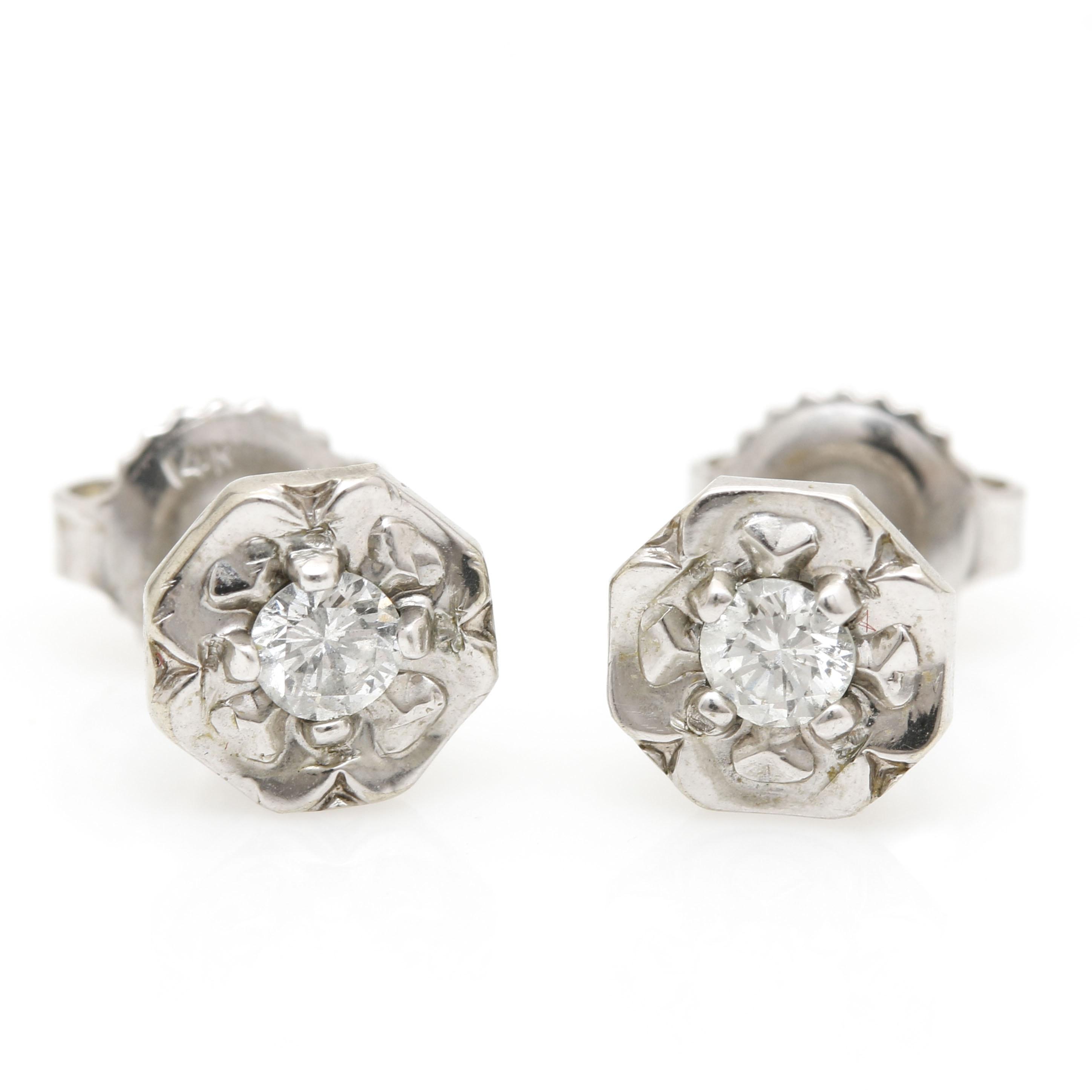 10K White Gold Diamond Flower Earrings