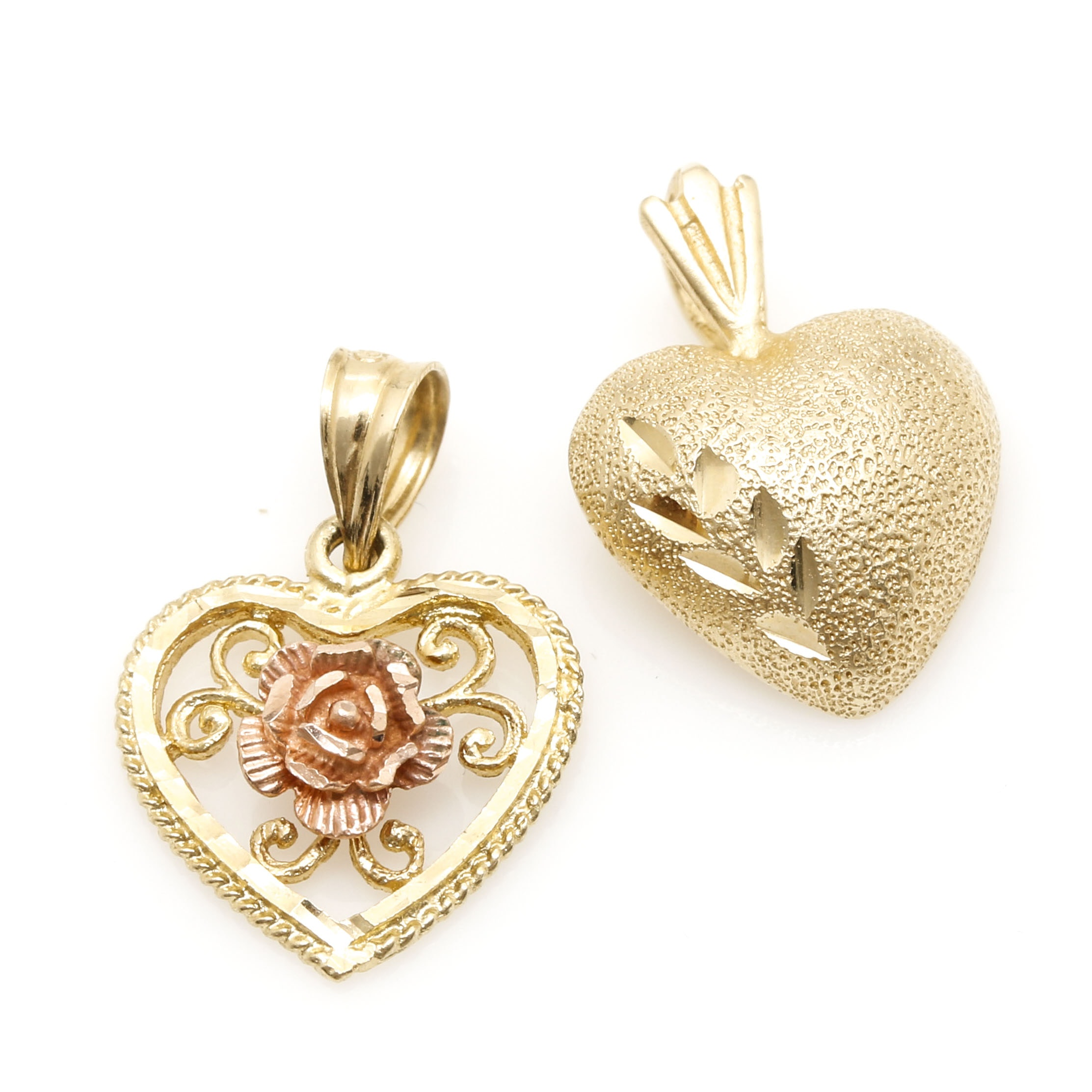 Selection of 14K Yellow and Rose Gold Heart Pendants