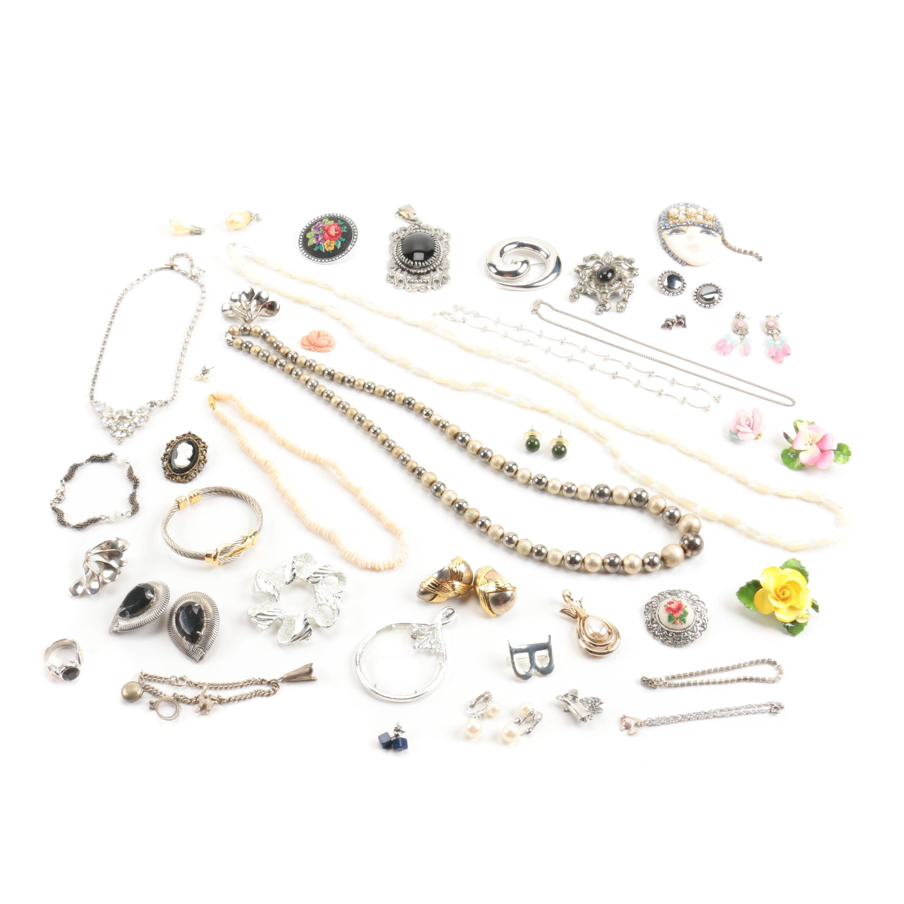 Assortment of Costume Jewelry Including Bogoff and Staffordshire
