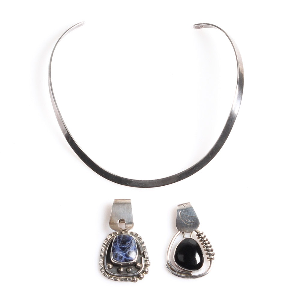 Sterling Silver Choker and Natural Stone Pendants