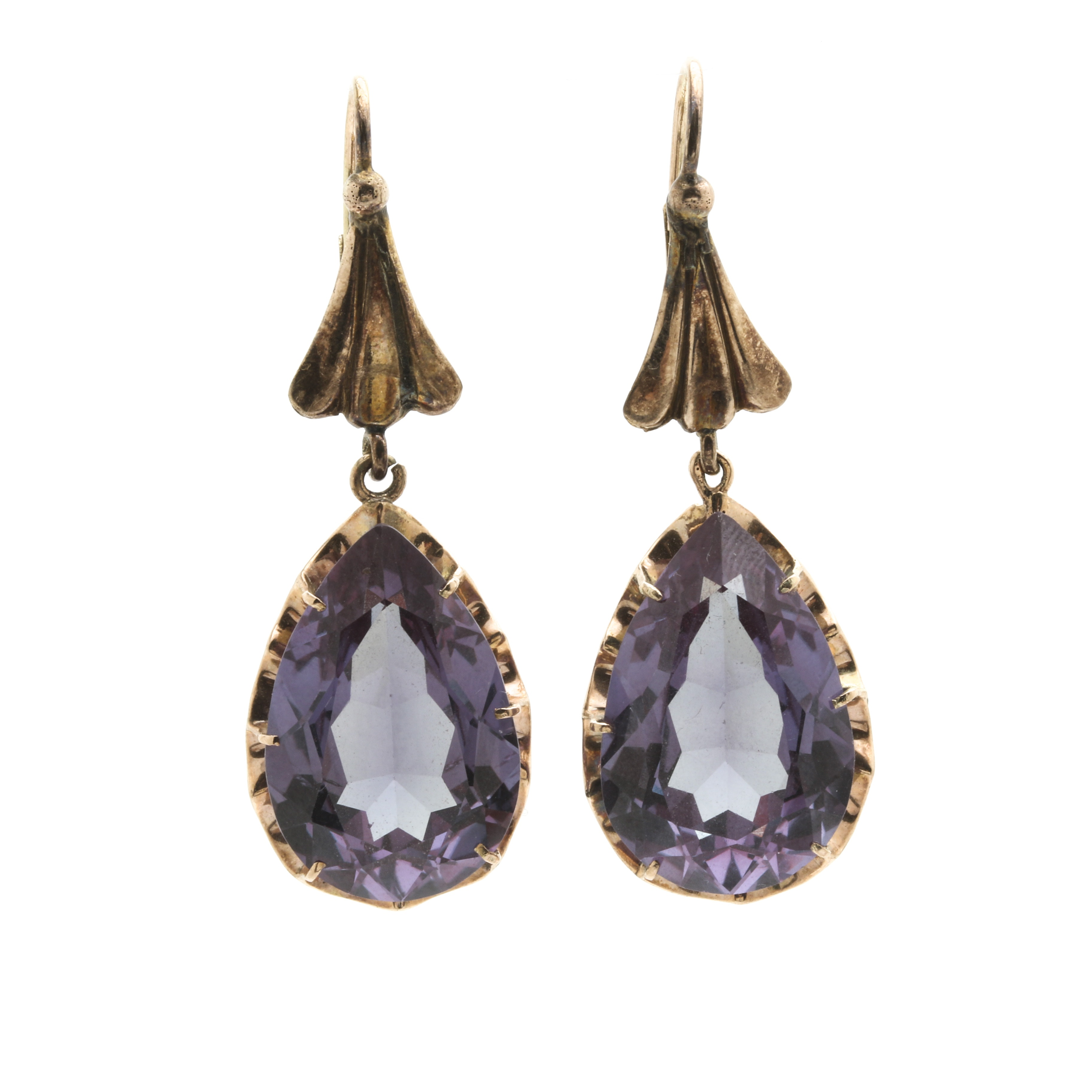 10K Yellow Gold Synthetic Color Change Sapphire Dangle Earrings