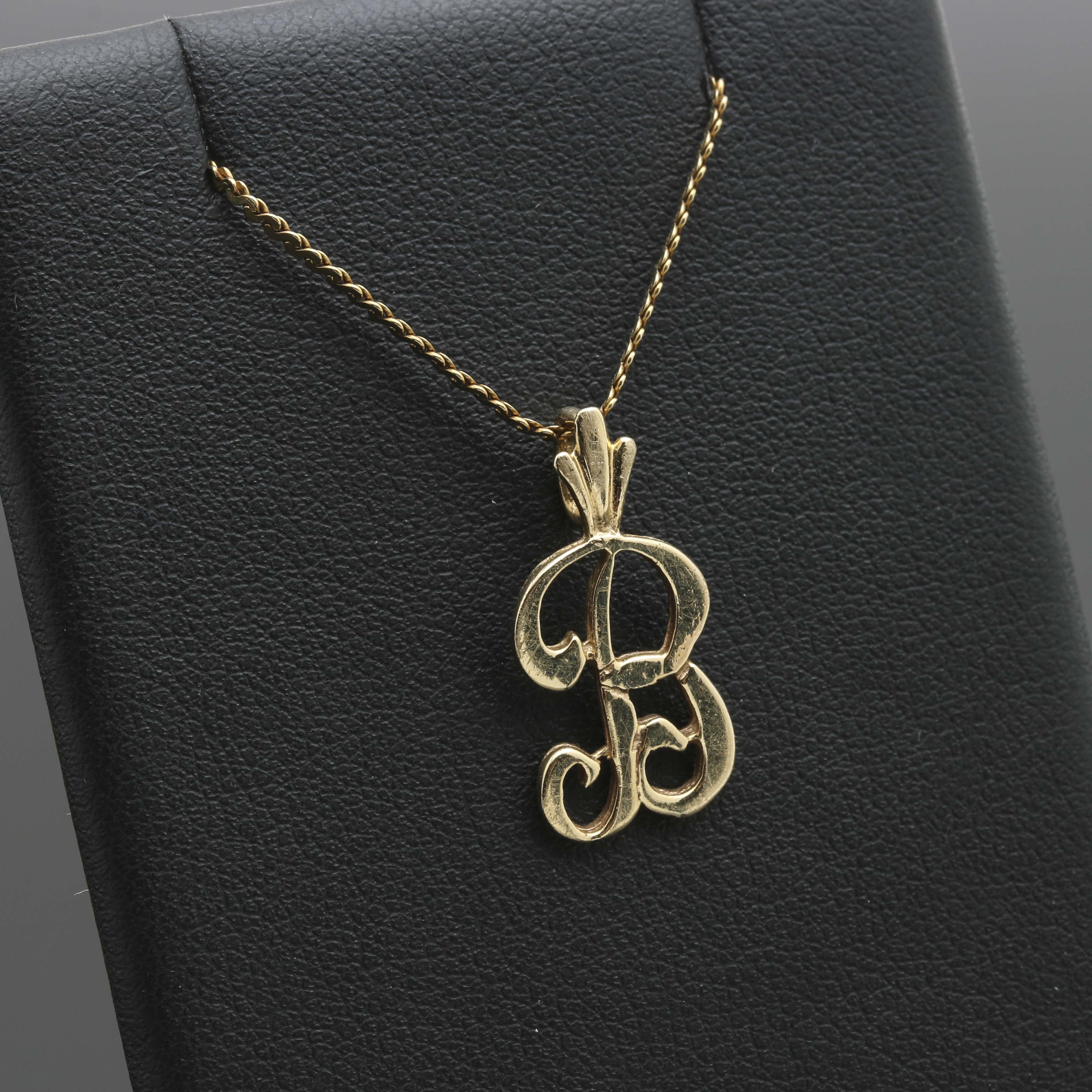 "14K Yellow Gold Initial ""B"" Pendant Necklace"