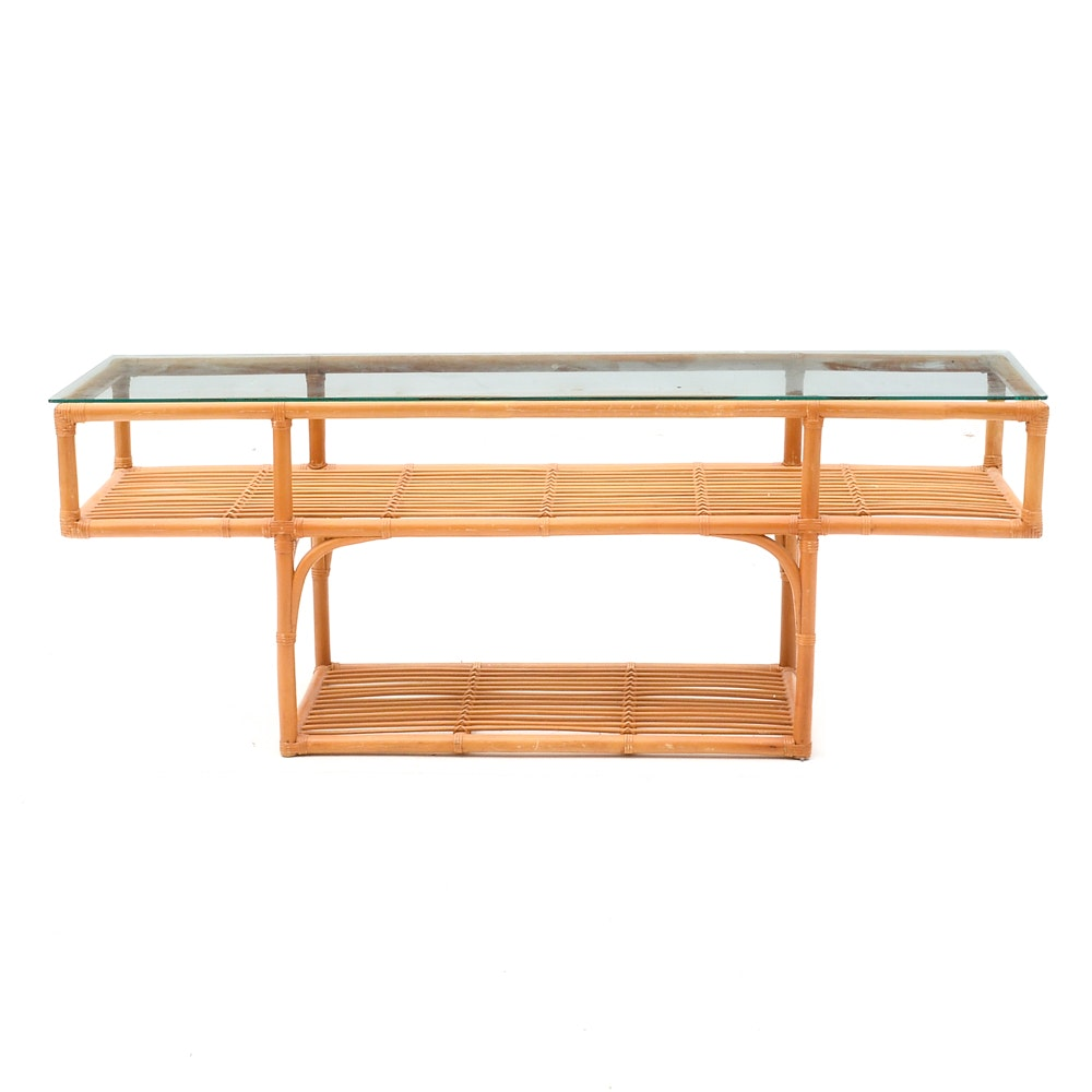 Glass Top Bamboo Console Table