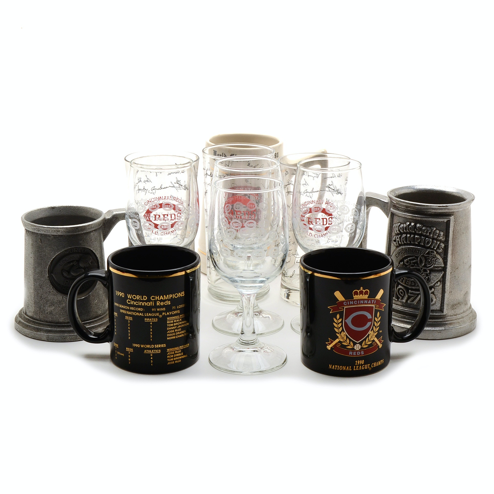 1975/76 and 1990 Reds Glasses and Mugs