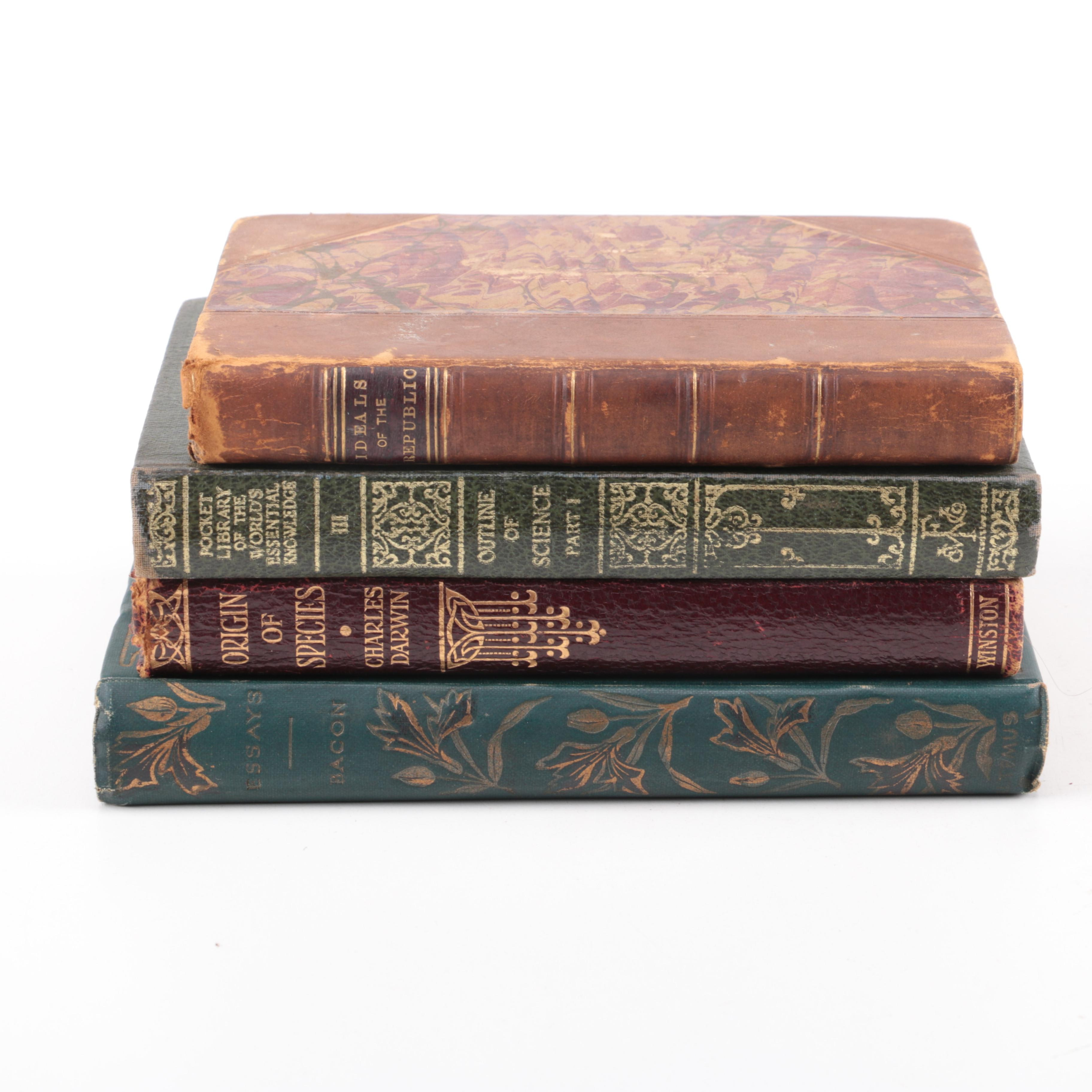 """Collection of Antique and Vintage Non-Fiction Books Including """"Origin of Species"""" by Charles Darwin"""