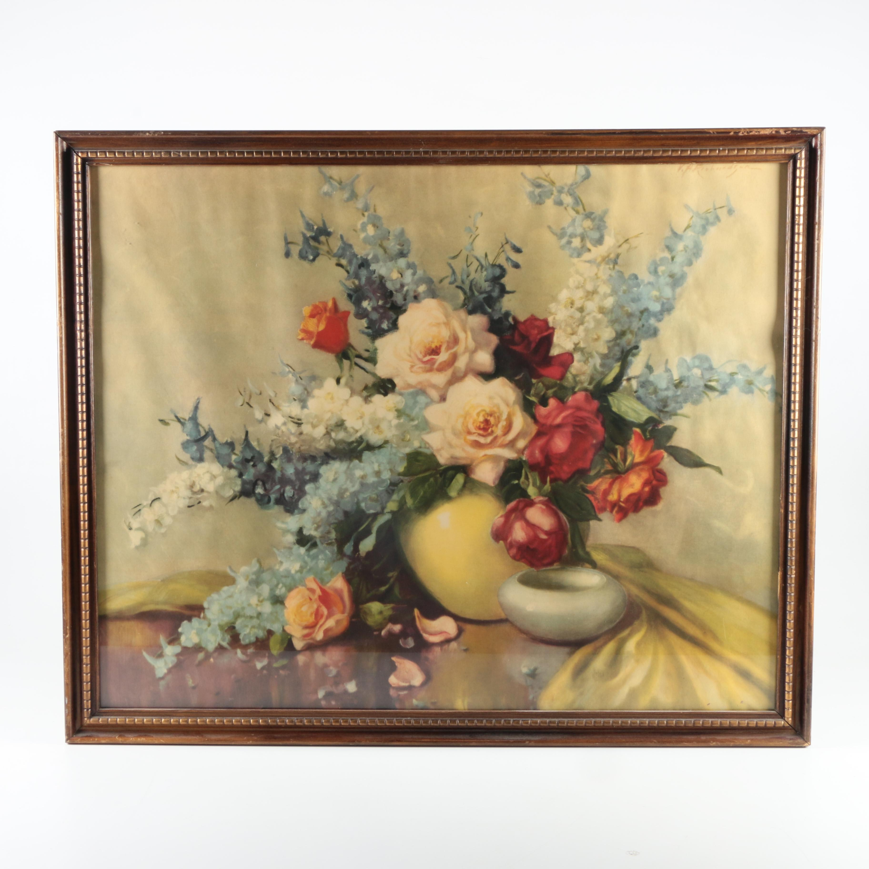 Offset Lithograph on Paper of Floral Still Life
