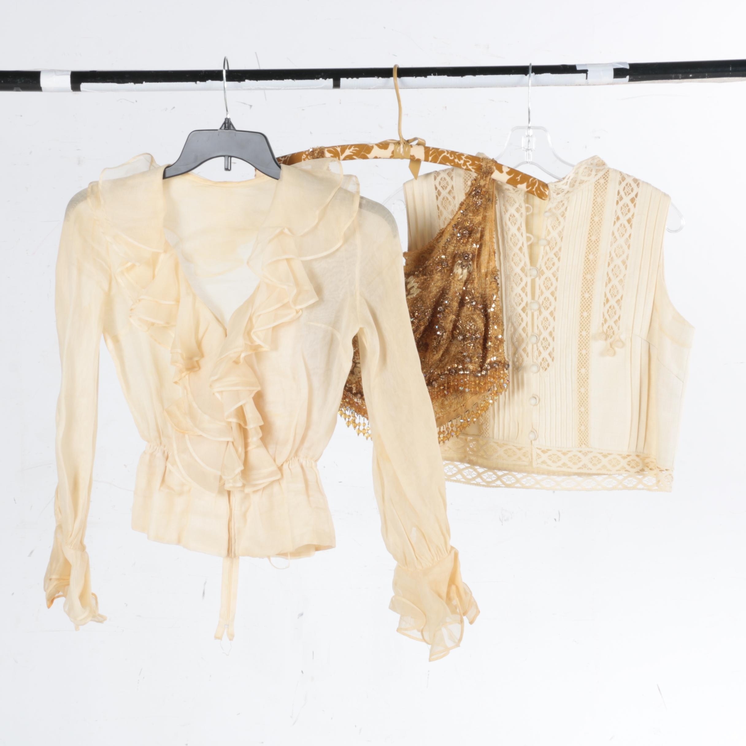 Women's Vintage Tops Including Linen, Chiffon, and Beaded