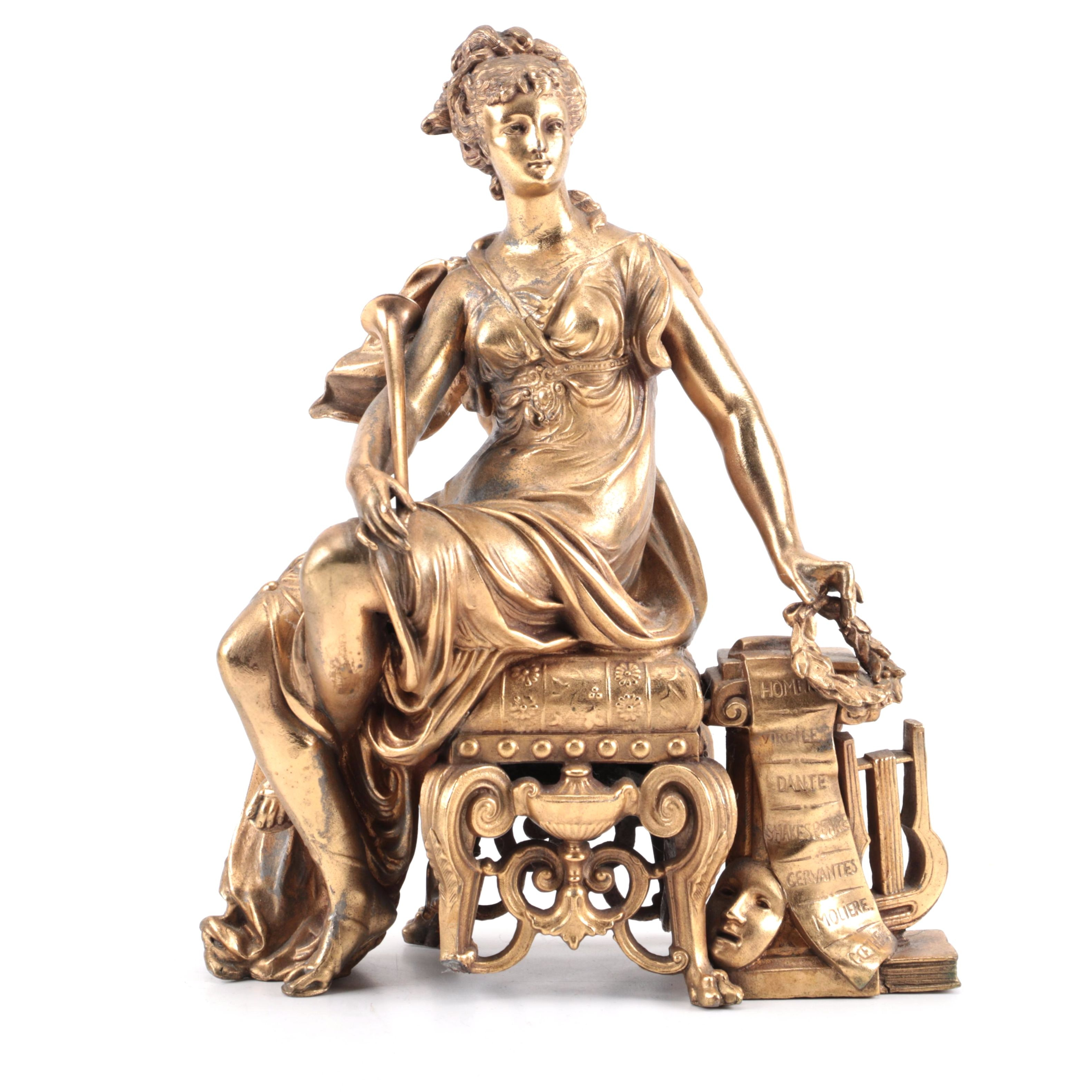 Cast Iron Statuette of Greek Inspired Seated Woman