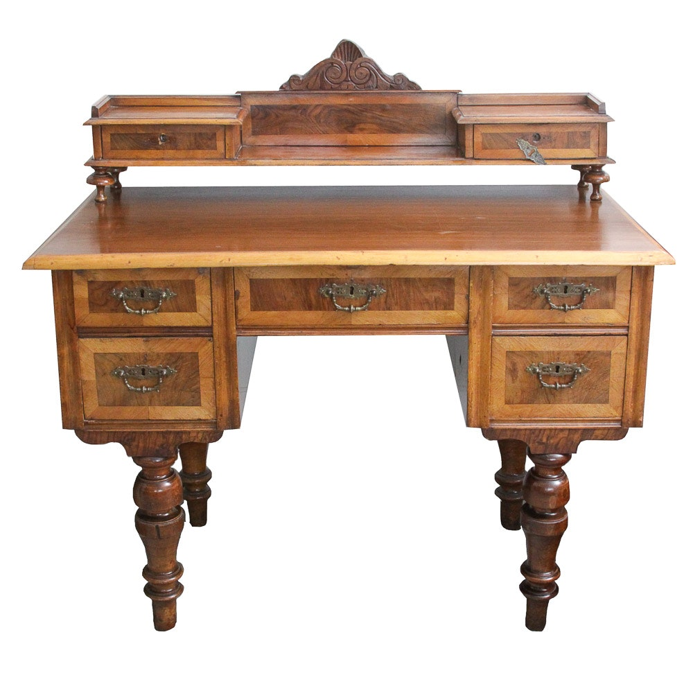 Antique Art Nouveau Desk With Raised Gallery
