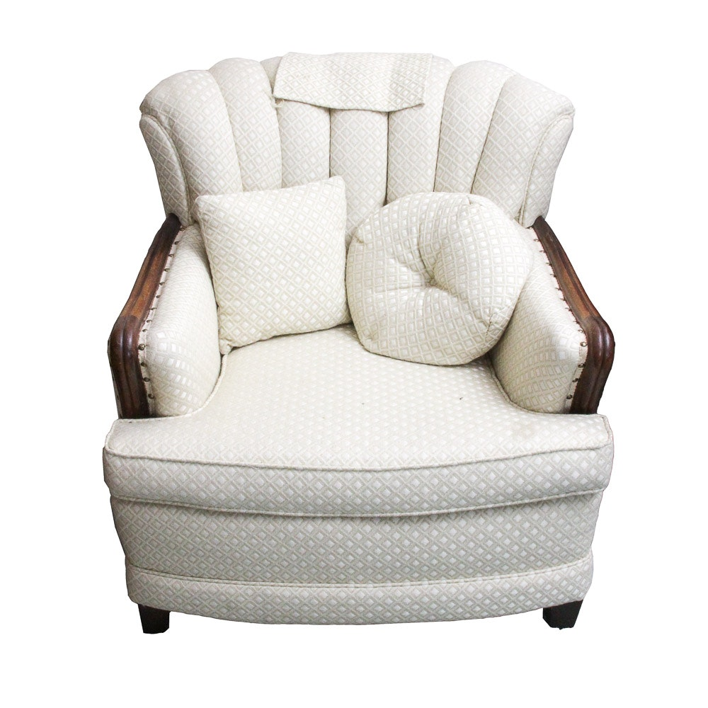 White Barrel Back Armchair