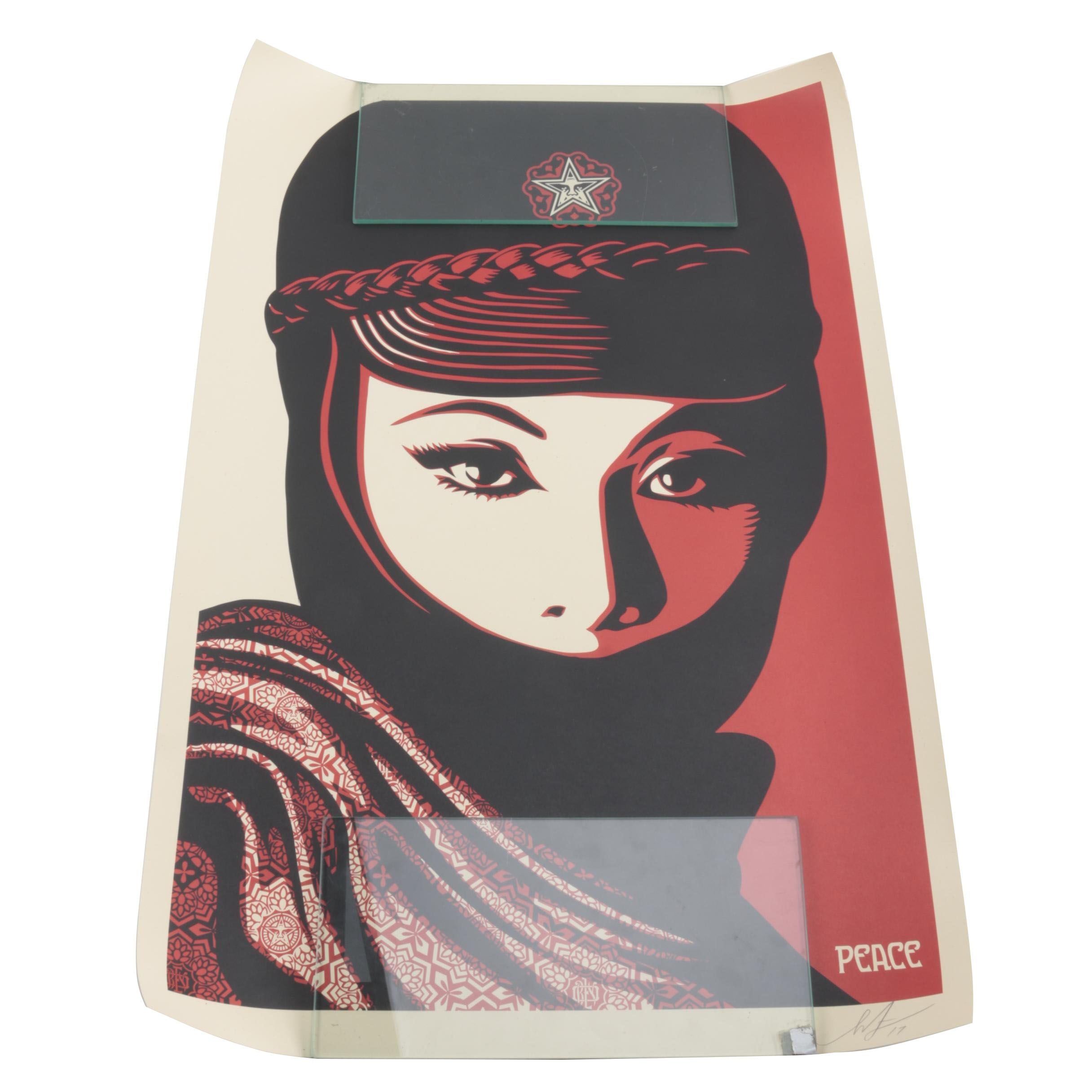 """Signed Shepard Fairey Offset Lithograph """"Mujer Fatale"""""""