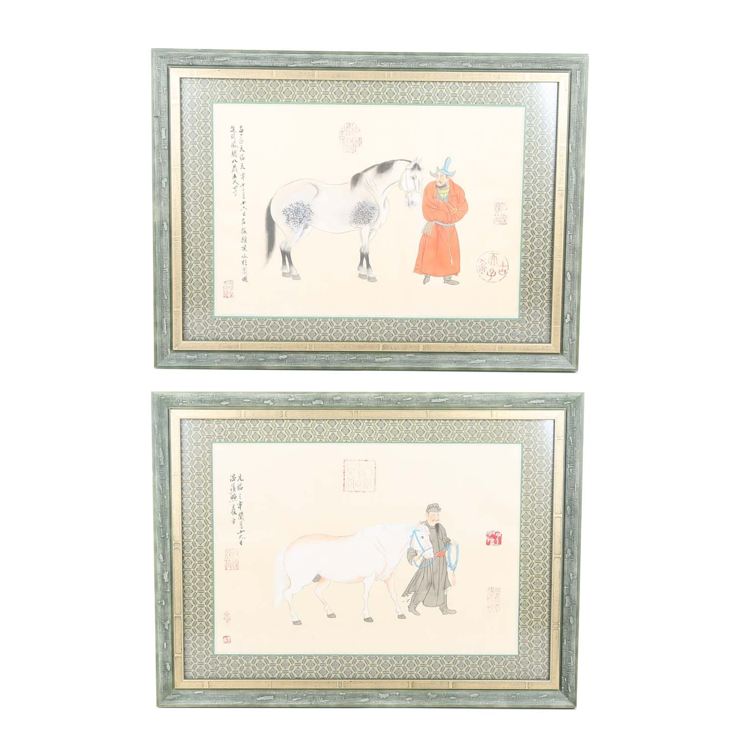 Chinese Gouache Paintings on Linen