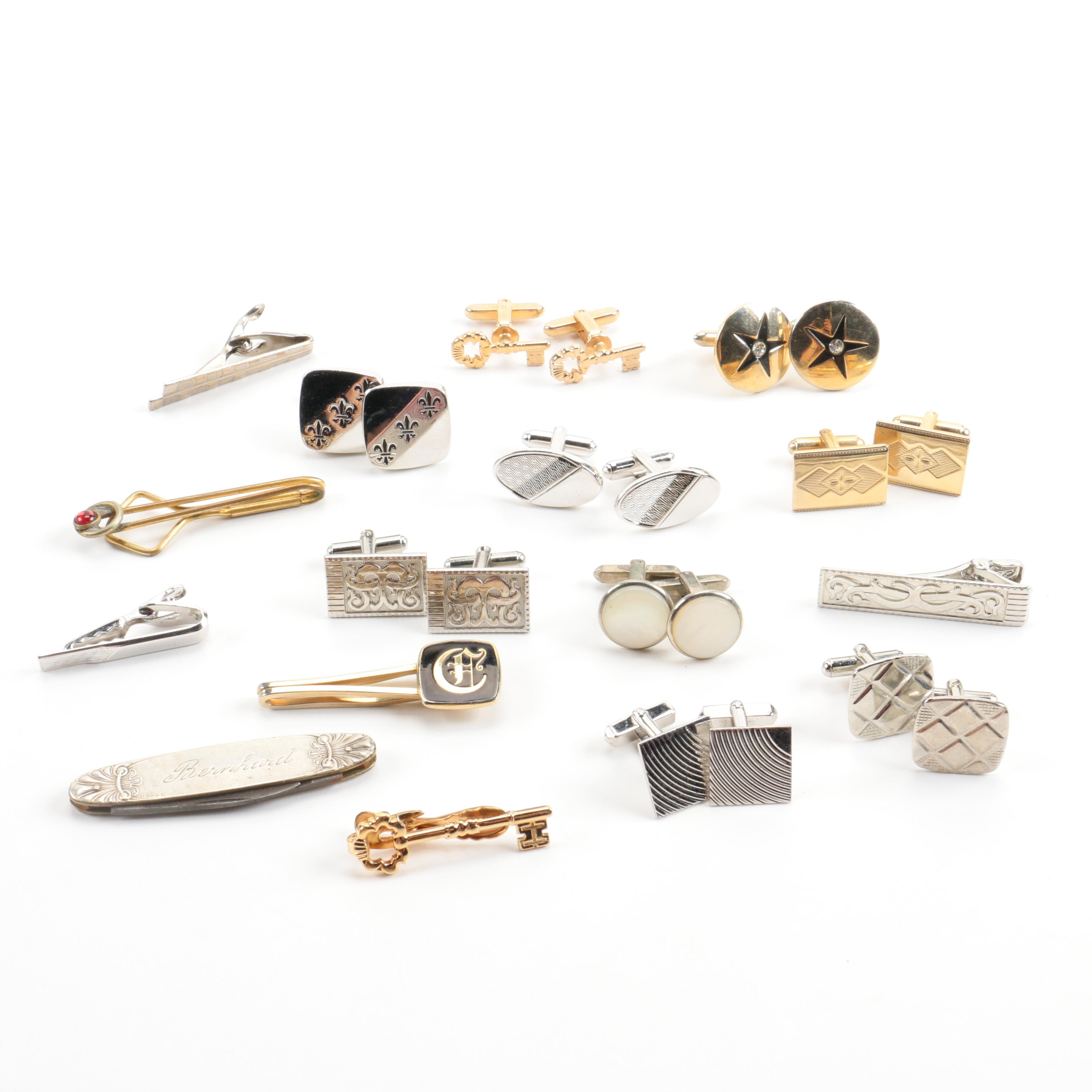 Sterling and 800 Silver Tie Clips and Cufflinks