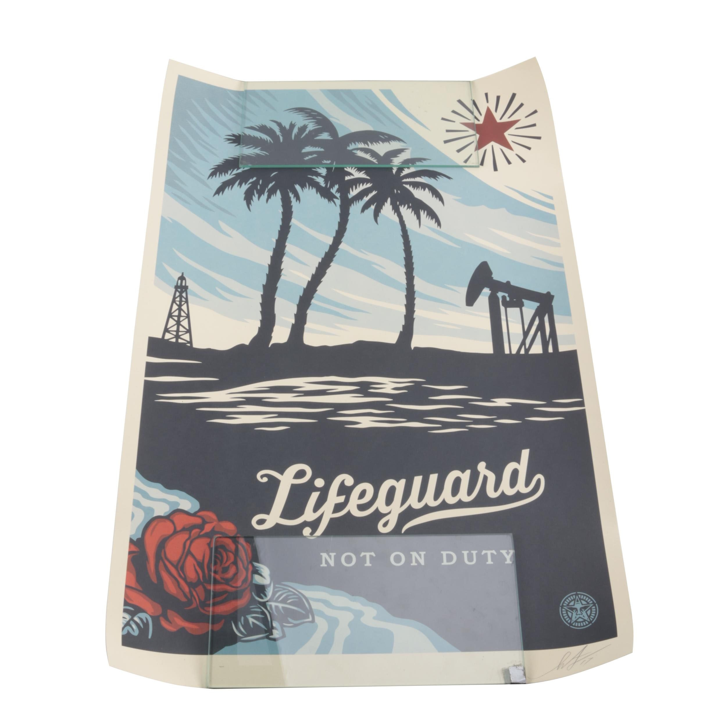 """Signed Shepard Fairey Offset Lithograph """"Lifeguard Not on Duty"""""""
