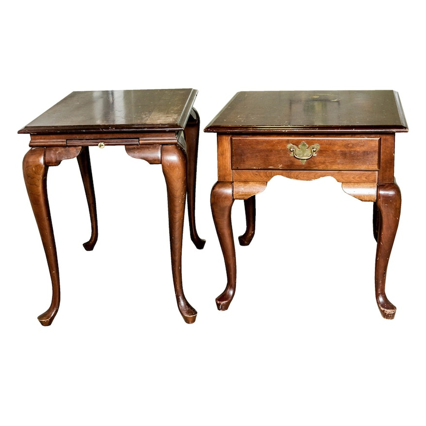 Queen Anne Style End Tables Including Broyhill