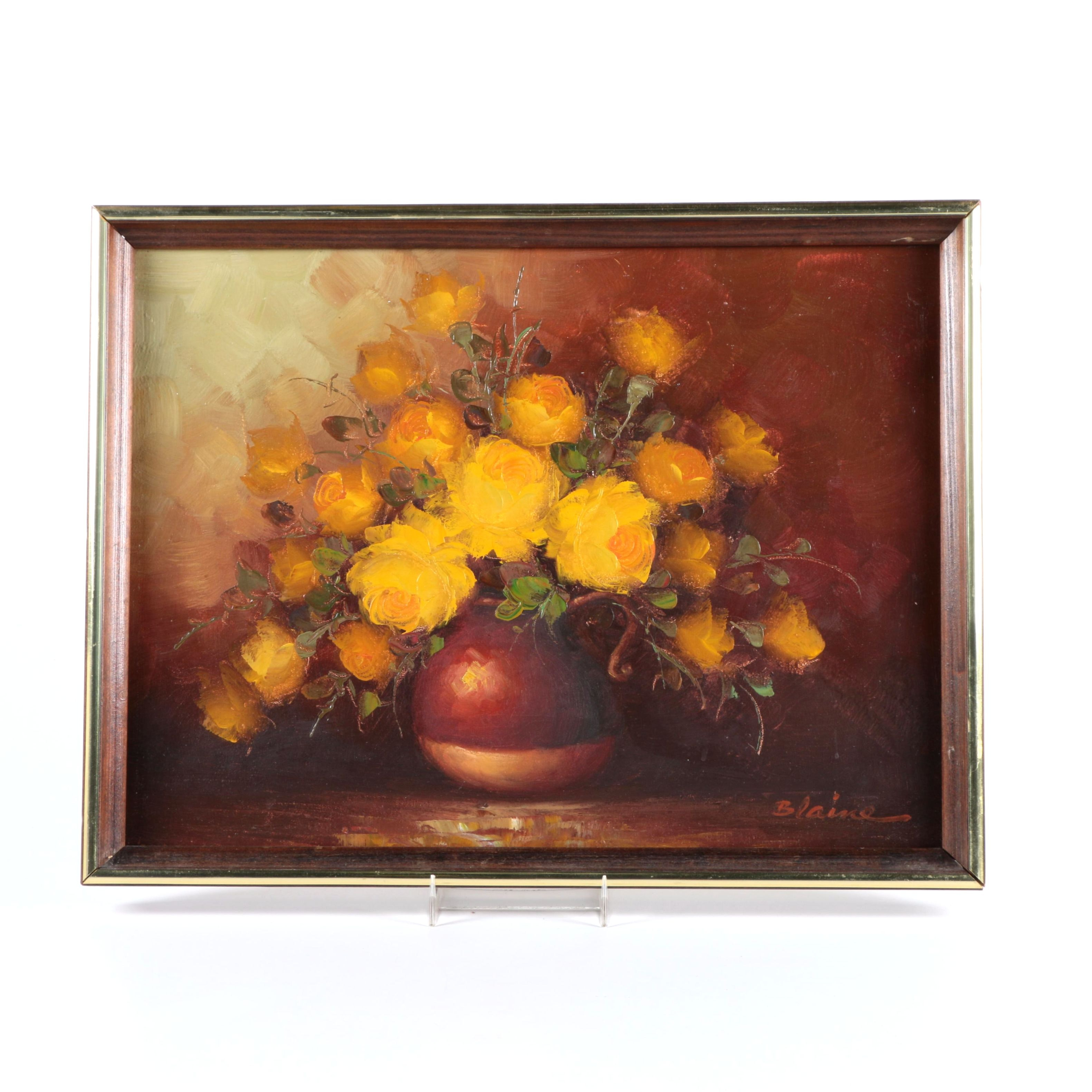 Signed Oil on Canvas Painting of Yellow Roses