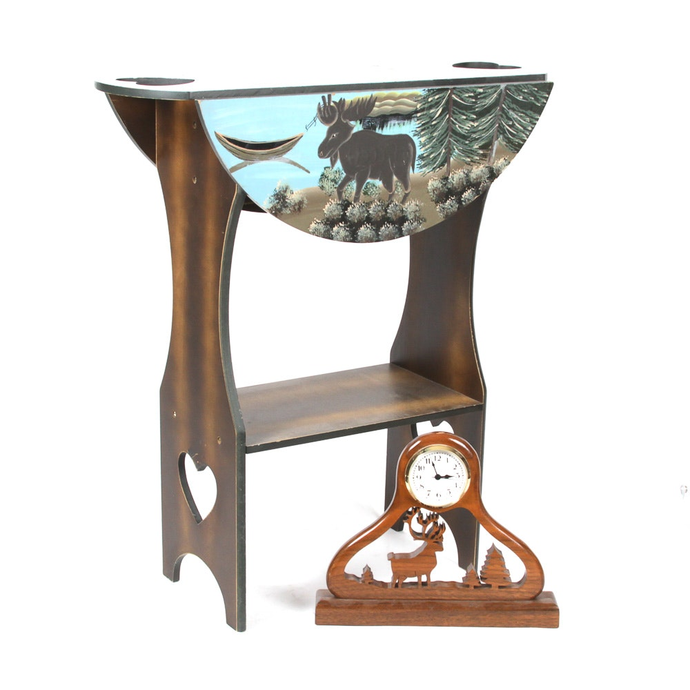 Folk Art Hand Painted Drop Side Accent Table and Clock by Dave Rankin