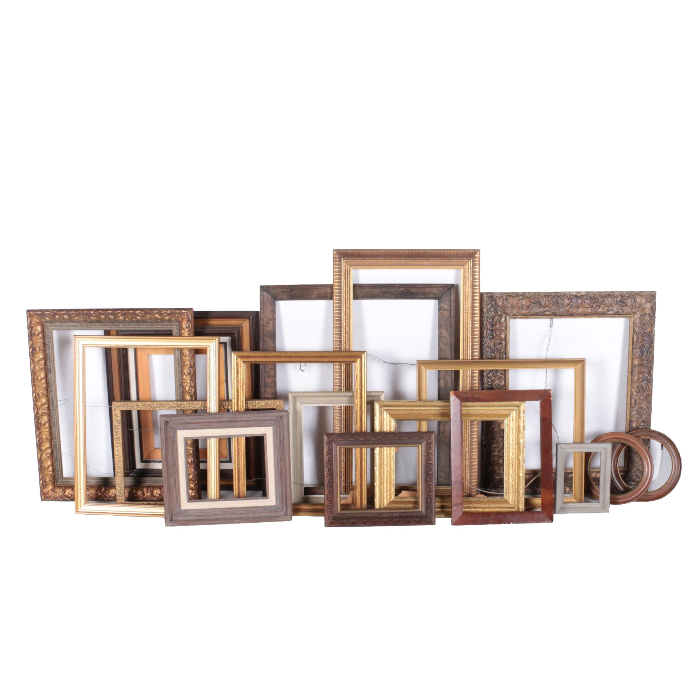Large Assortment of Wooden Picture Frames