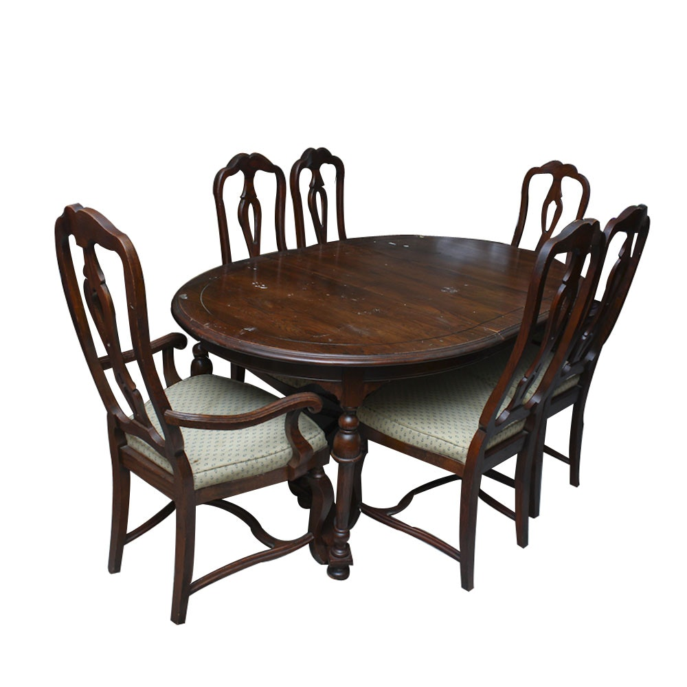 Delightful Vintage Chippendale Style Oak Dining Table And Chairs By Hekman Furniture  ...
