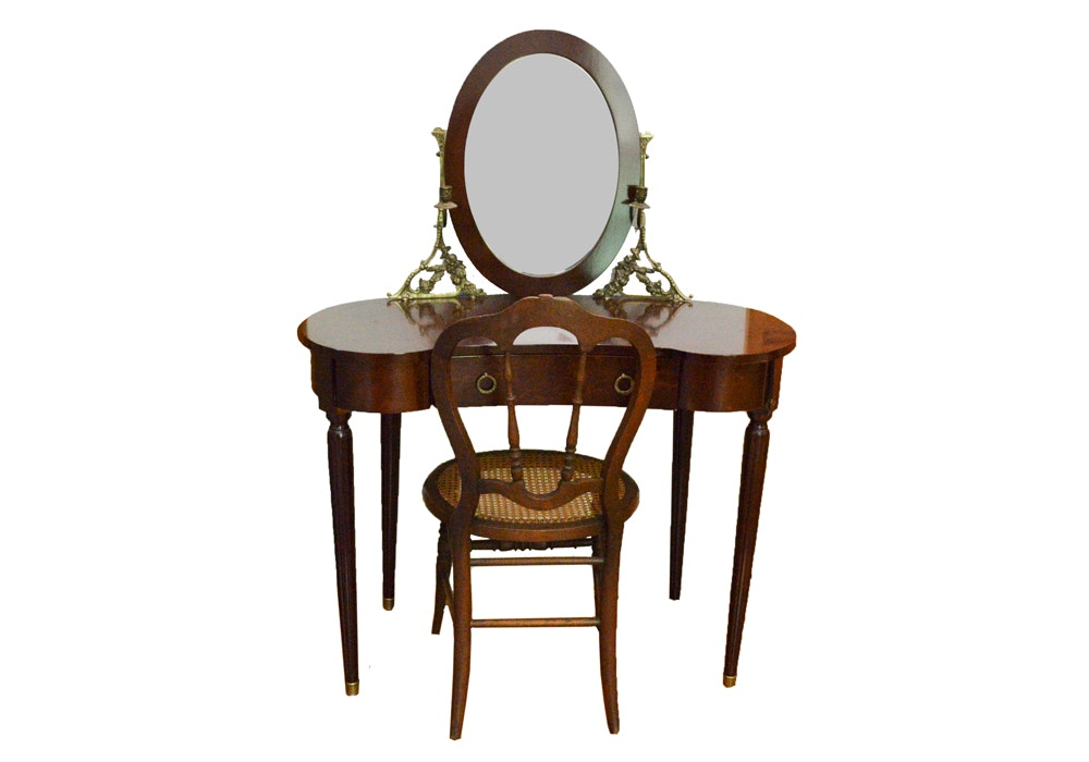 Vintage Victorian Style Vanity and Chair