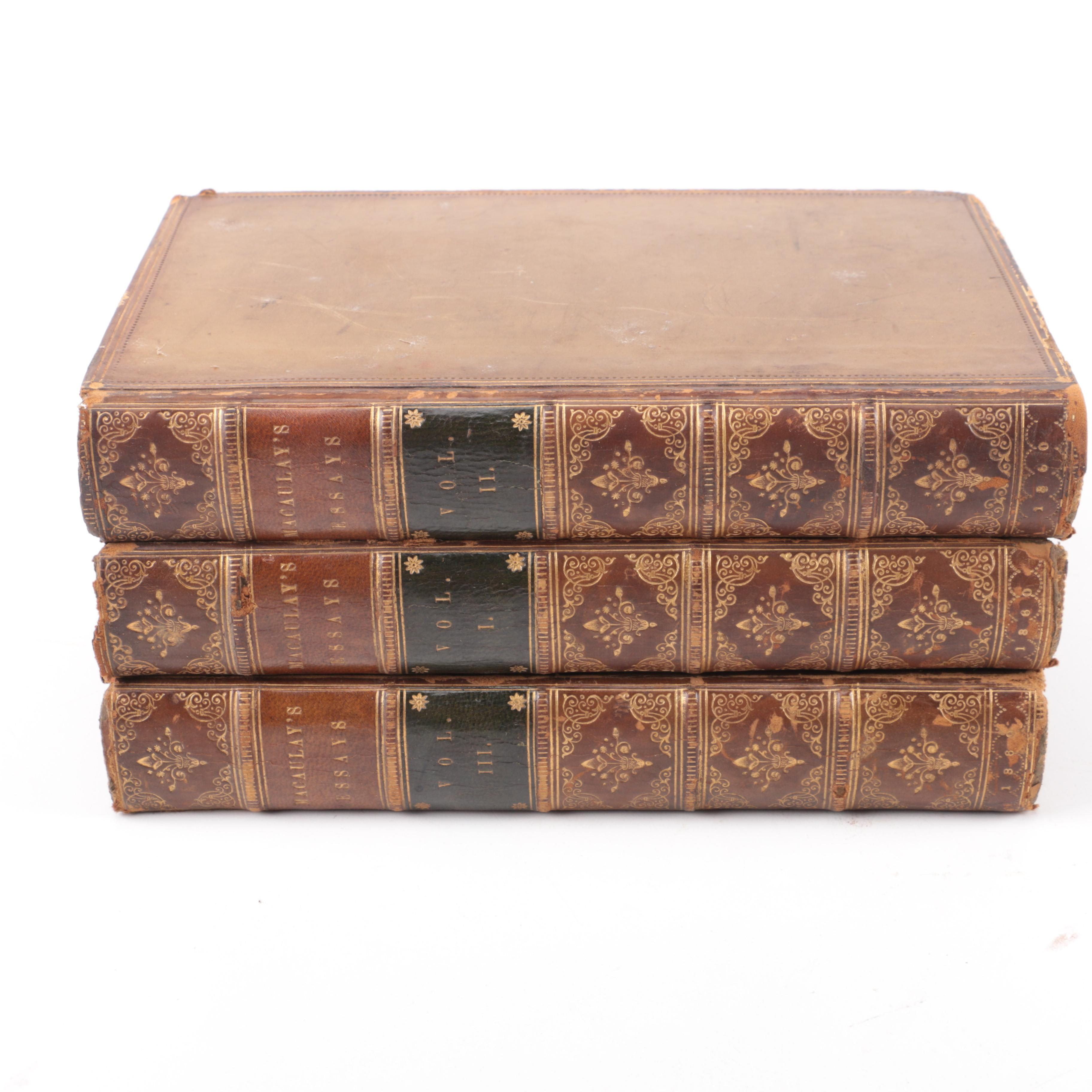 """1860 Three-Volume Set of """"Critical and Historical Essays"""" by Lord Macaulay"""
